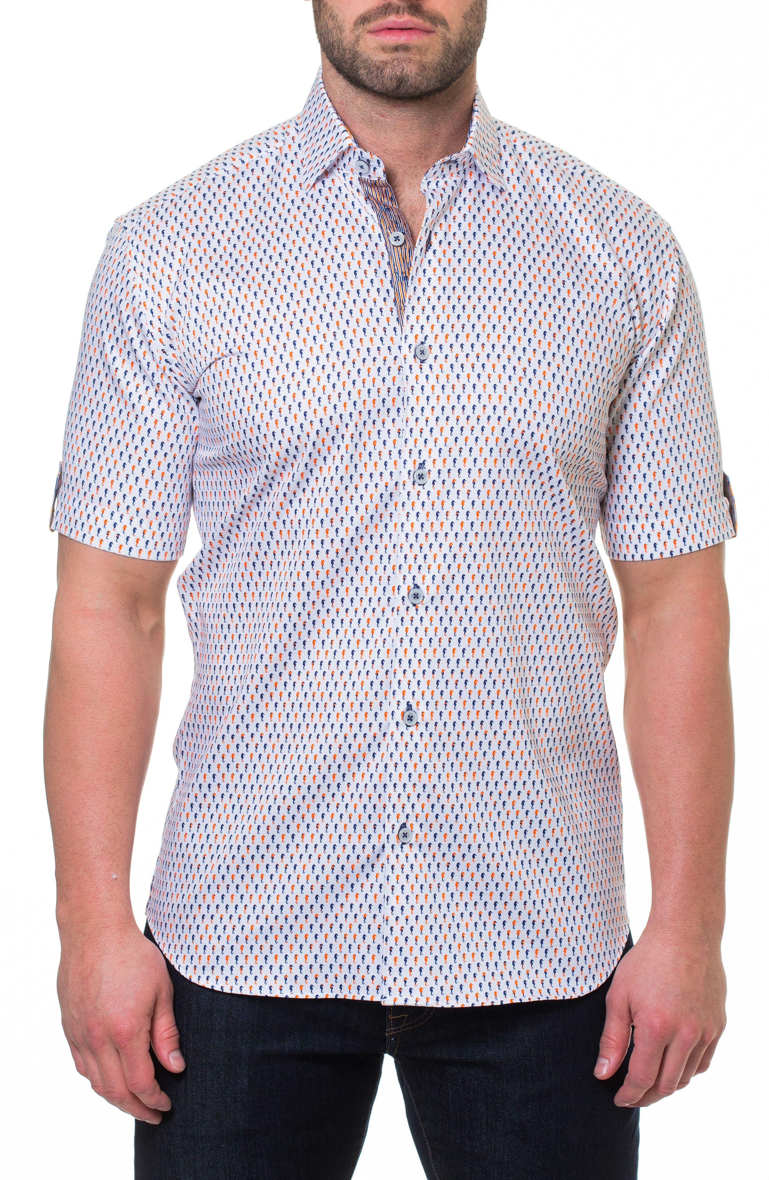 Fresh Seahorse Print Sport Shirt,                         Main,                         color, White