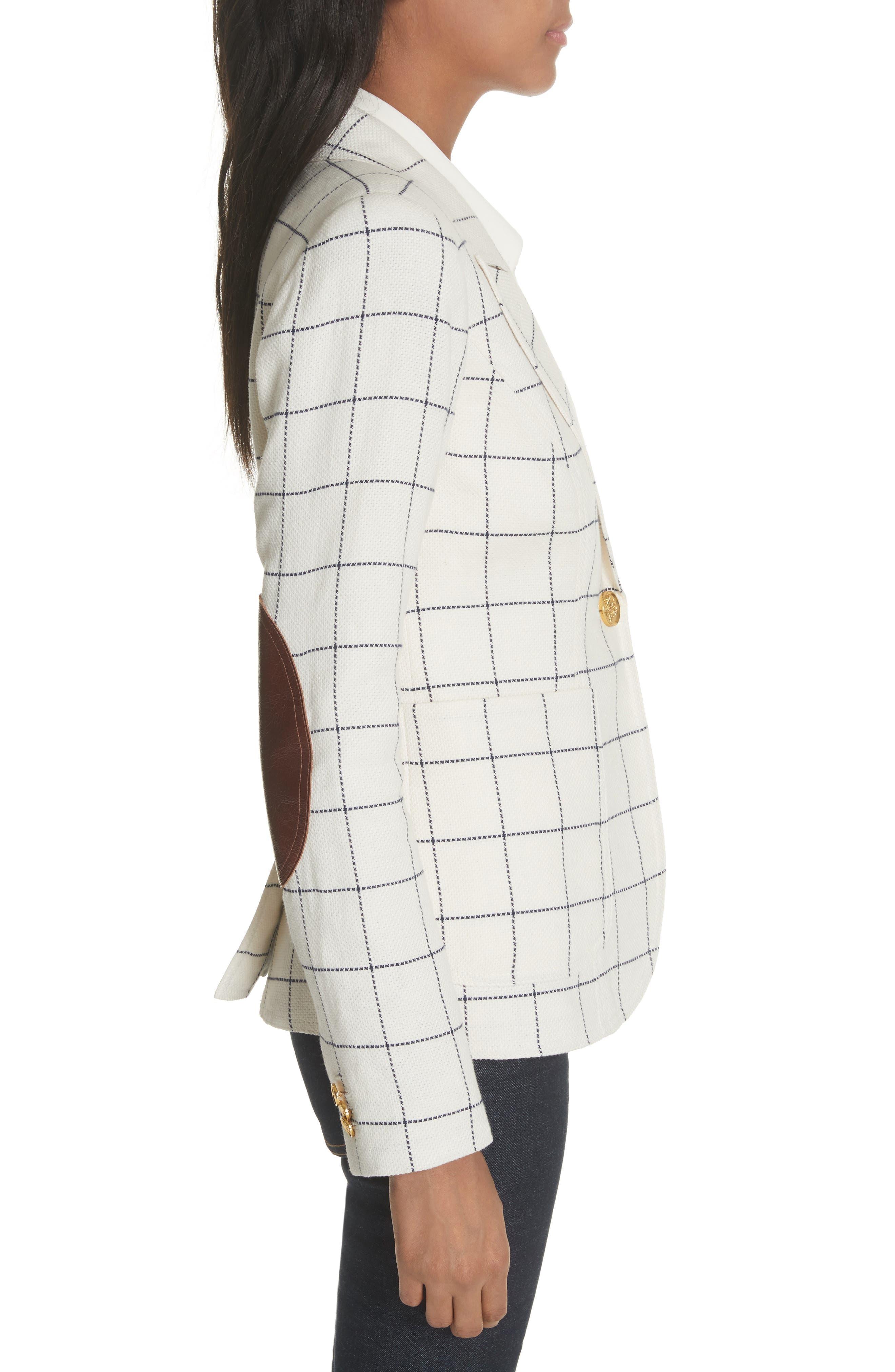 Duchess Elbow Patch Linen Blend Blazer,                             Alternate thumbnail 3, color,                             Gatsby Windowpane