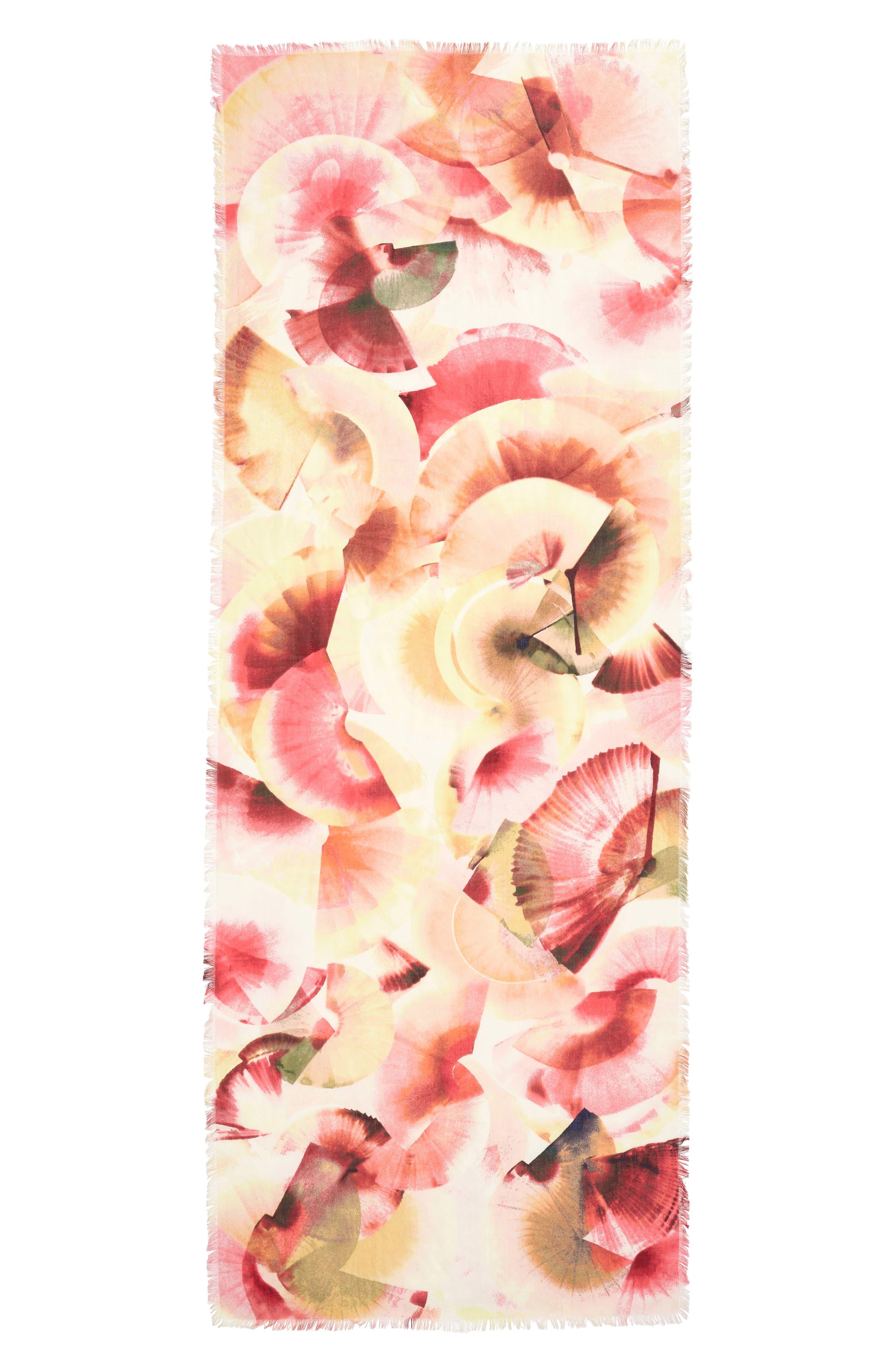 Eyelash Trim Print Cashmere & Silk Wrap,                             Alternate thumbnail 3, color,                             Pink Fanning Dots