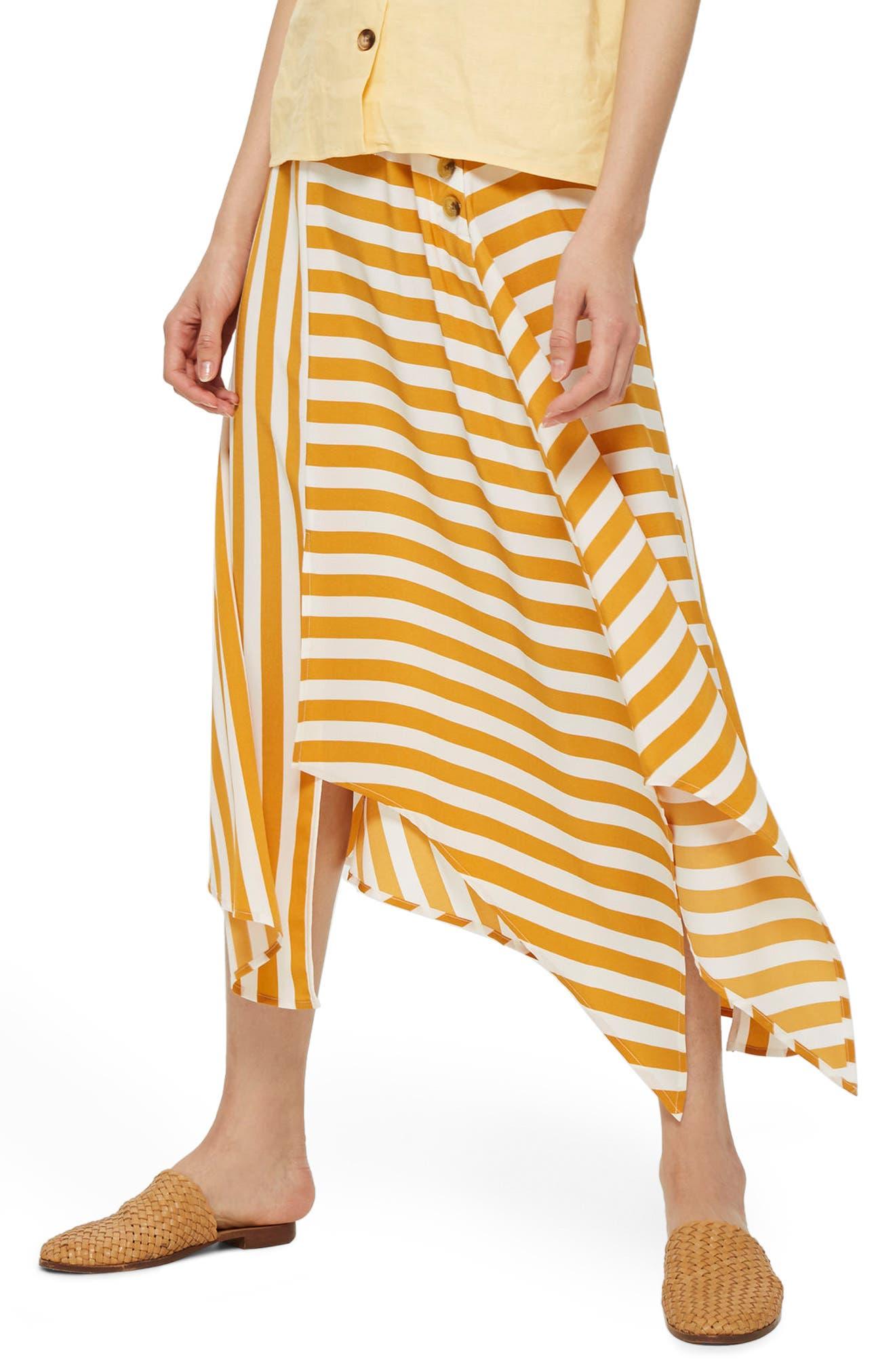 Humbug Button Handkerchief Hem Midi Skirt,                             Main thumbnail 1, color,                             Mustard Multi
