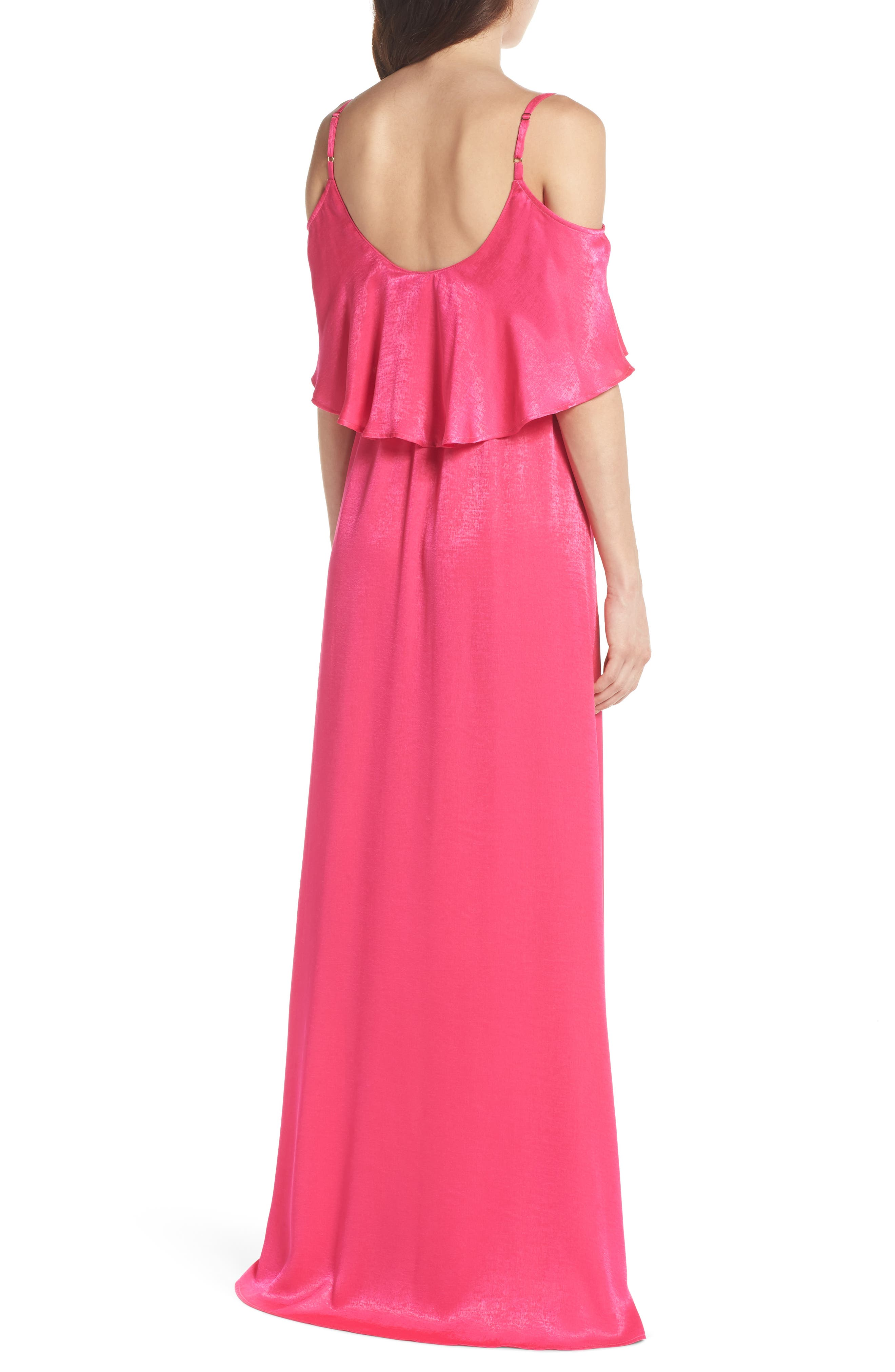 Caitlin Cold Shoulder Chiffon Gown,                             Alternate thumbnail 2, color,                             Flirty Fuchsia Sheen