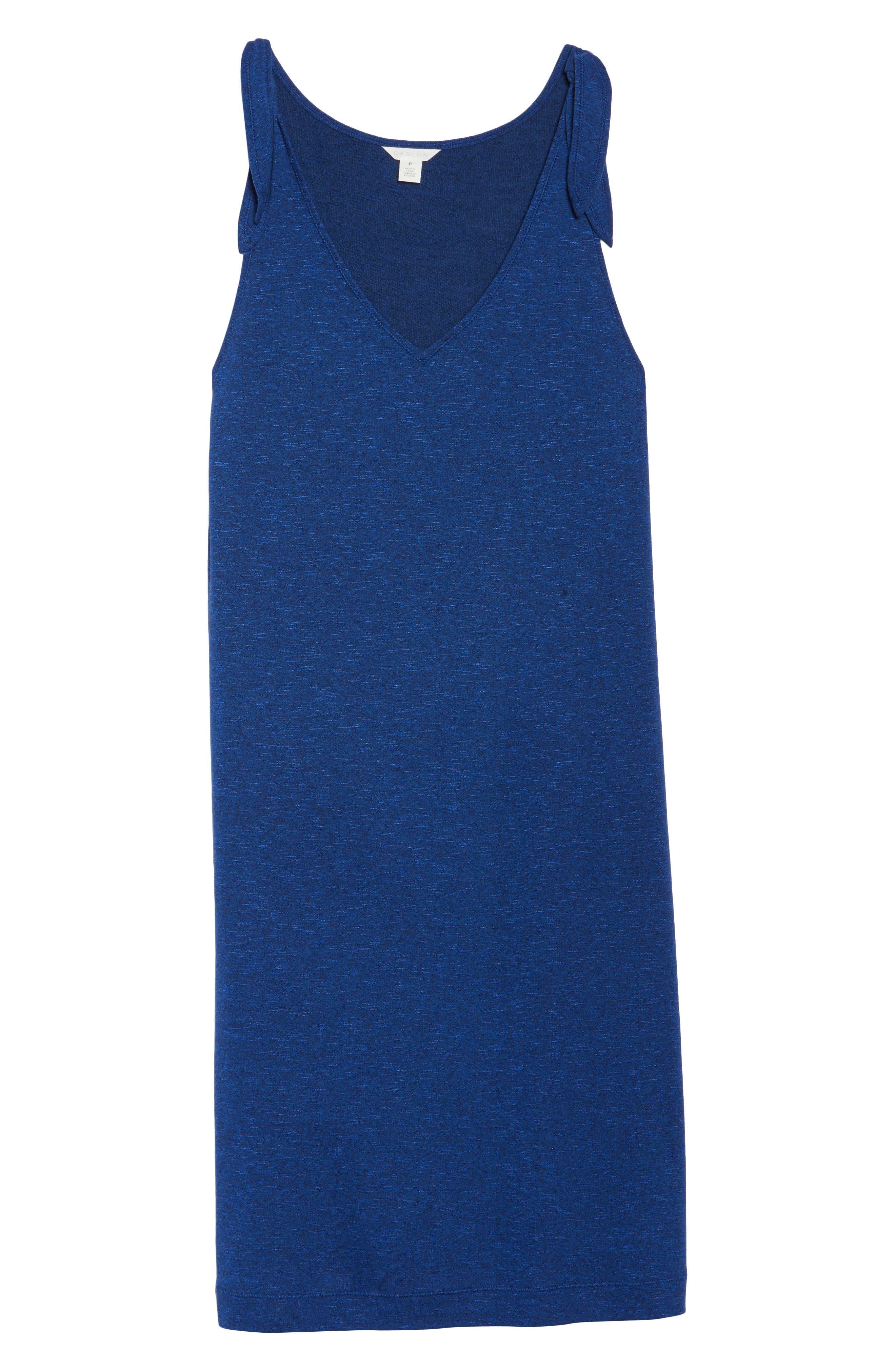 Knot Strap Knit Swing Dress,                             Alternate thumbnail 7, color,                             Cobalt Blue Slub Terry