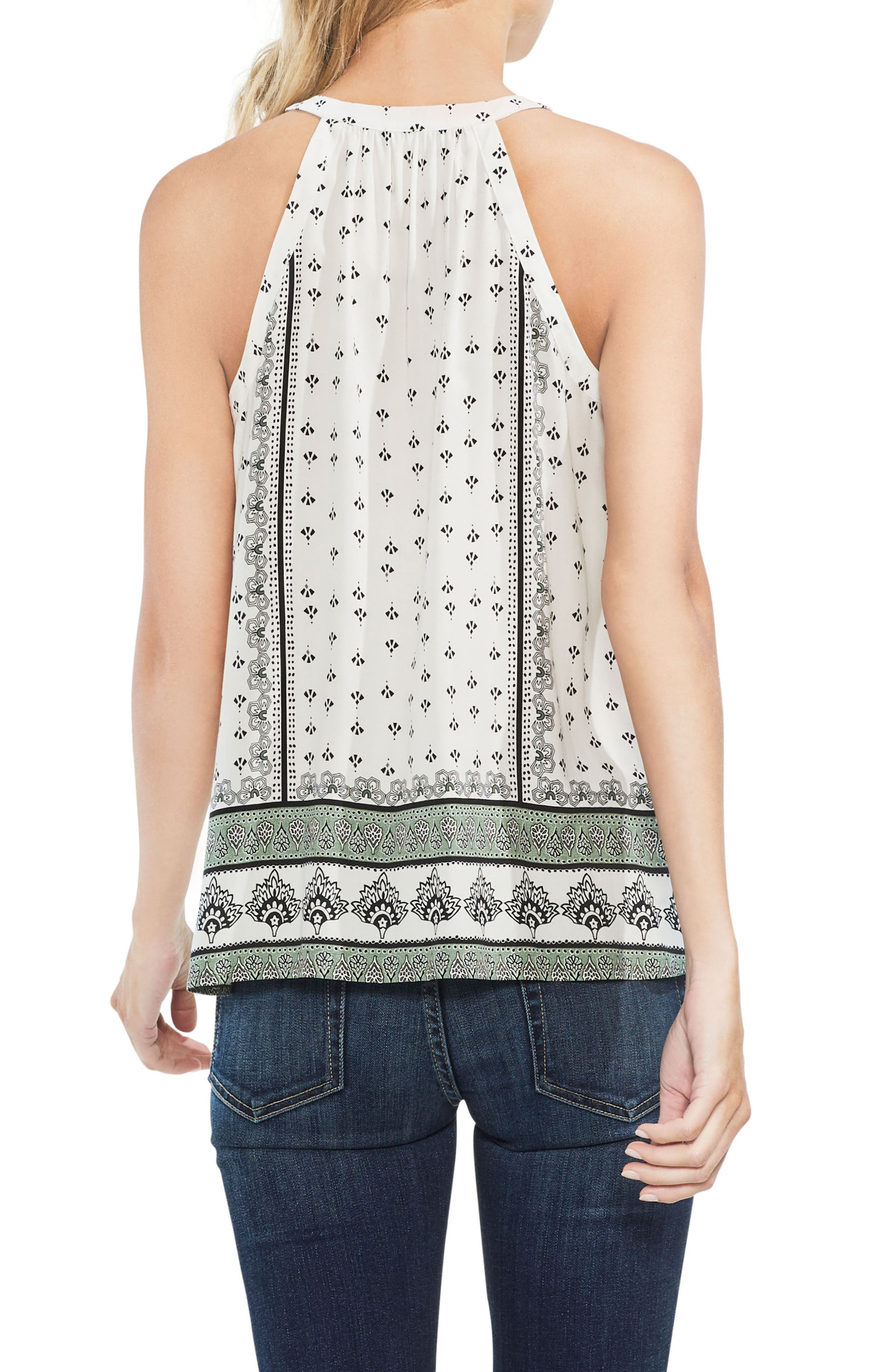 Halter Style Print Top,                             Alternate thumbnail 2, color,                             New Ivory