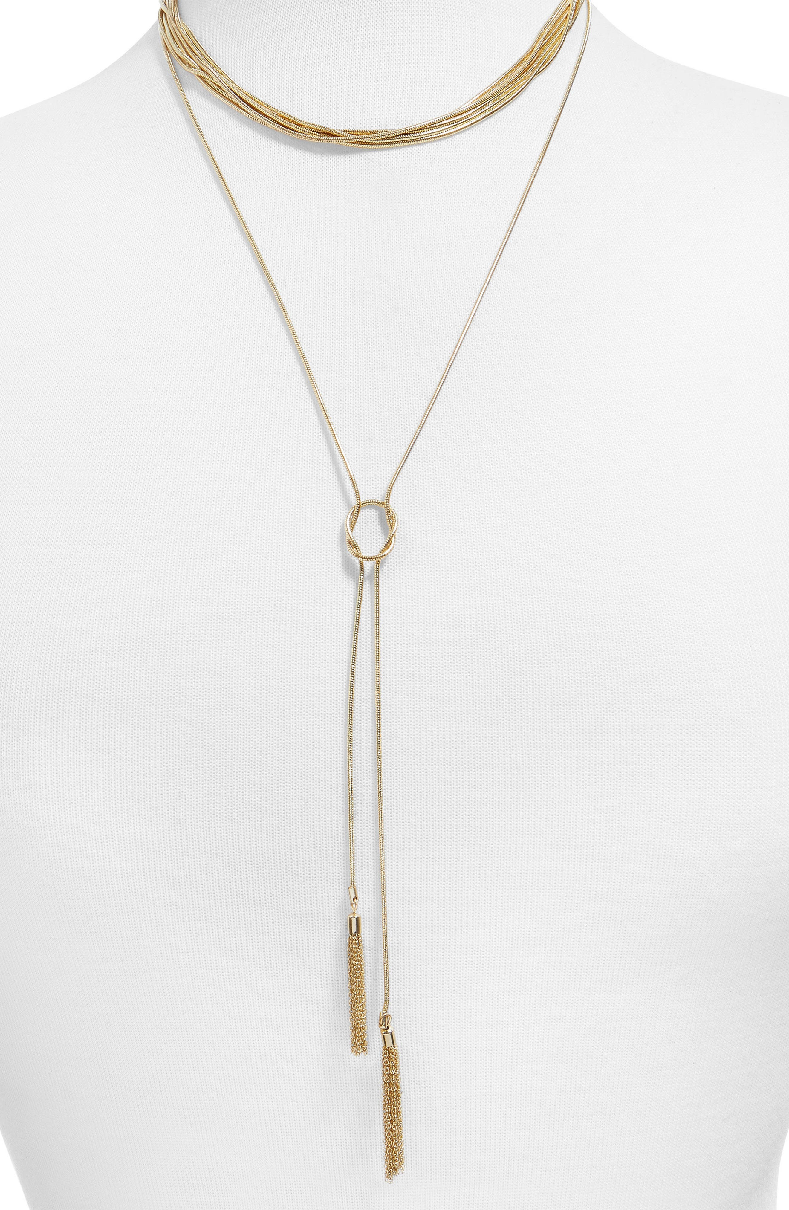 Delania Set of 2 Layered & Lariat Necklaces,                             Main thumbnail 1, color,                             Gold