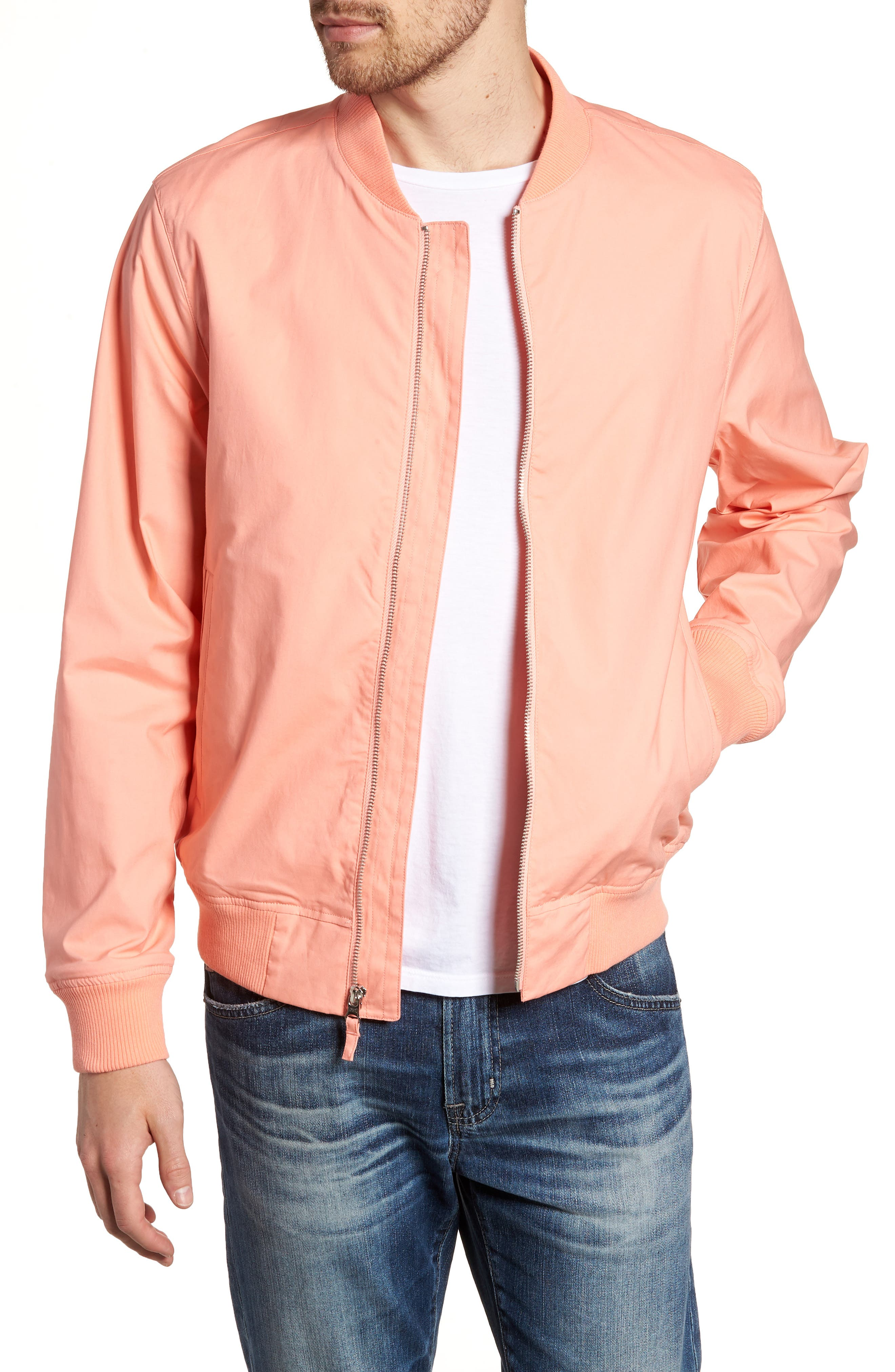 Stretch Bomber Jacket,                             Main thumbnail 1, color,                             Solid - Peach