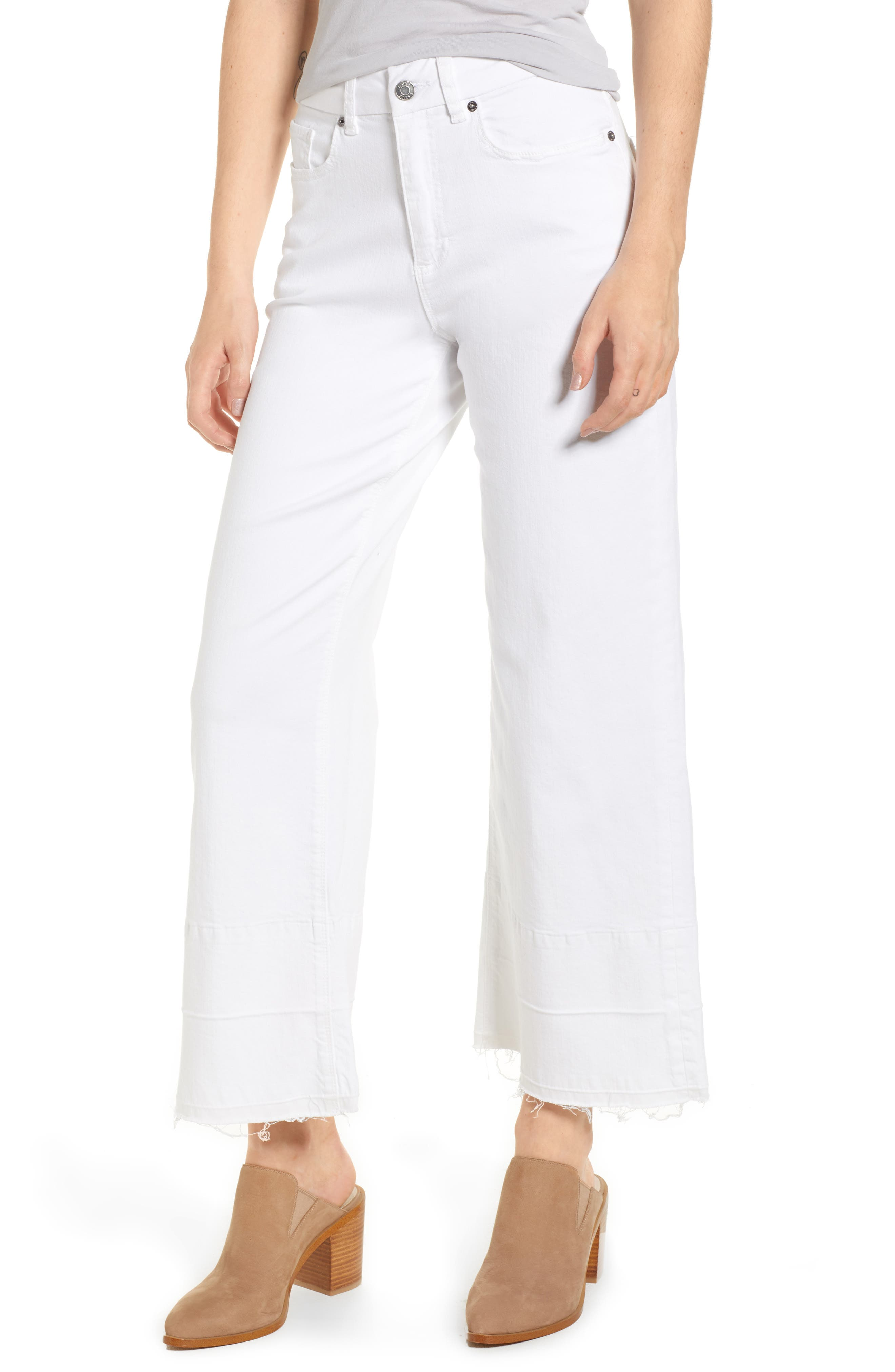 1.STATE Released Hem Wide Leg Jeans (Ultra White)