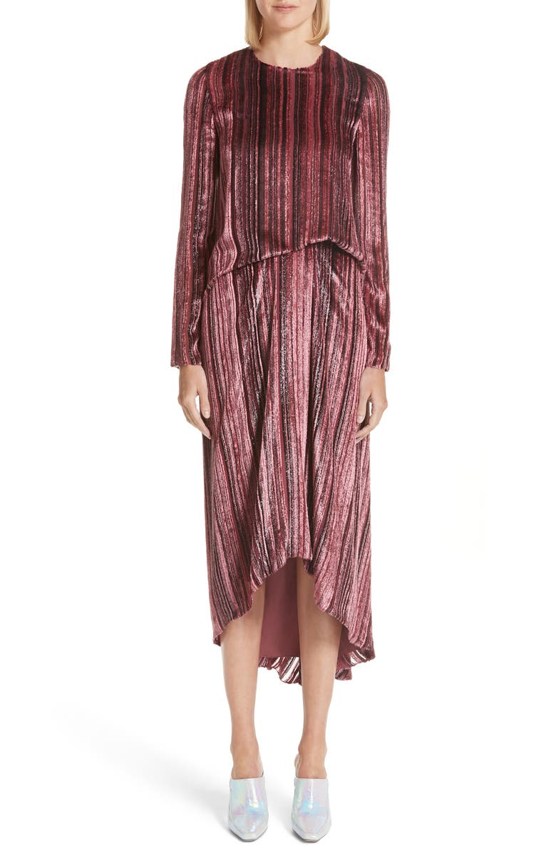 Metallic  Velvet Stripe Dress