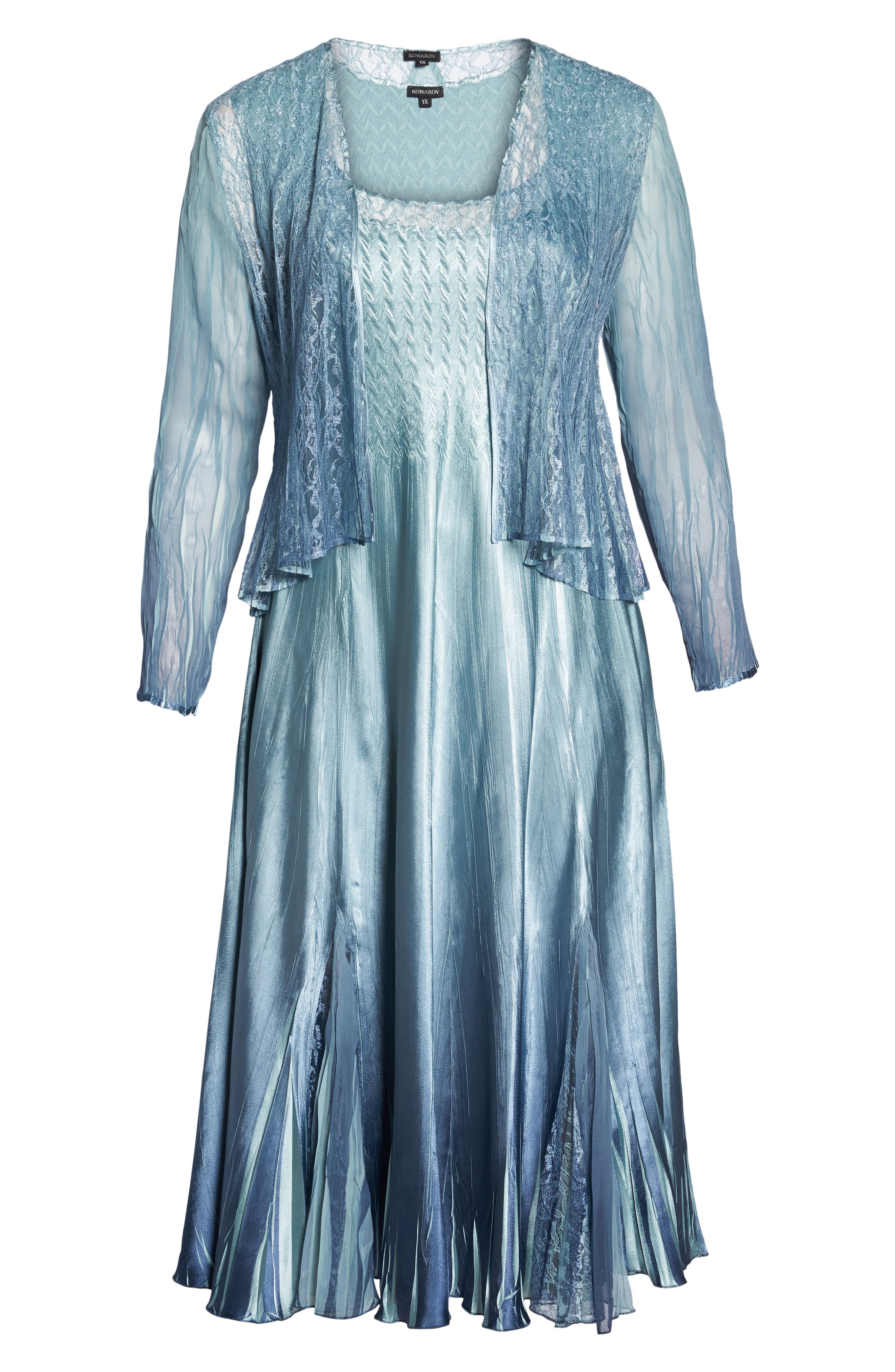 Lace & Charmeuse A-Lined Dress with Jacket,                             Alternate thumbnail 6, color,                             Ocean Blue Night Ombre