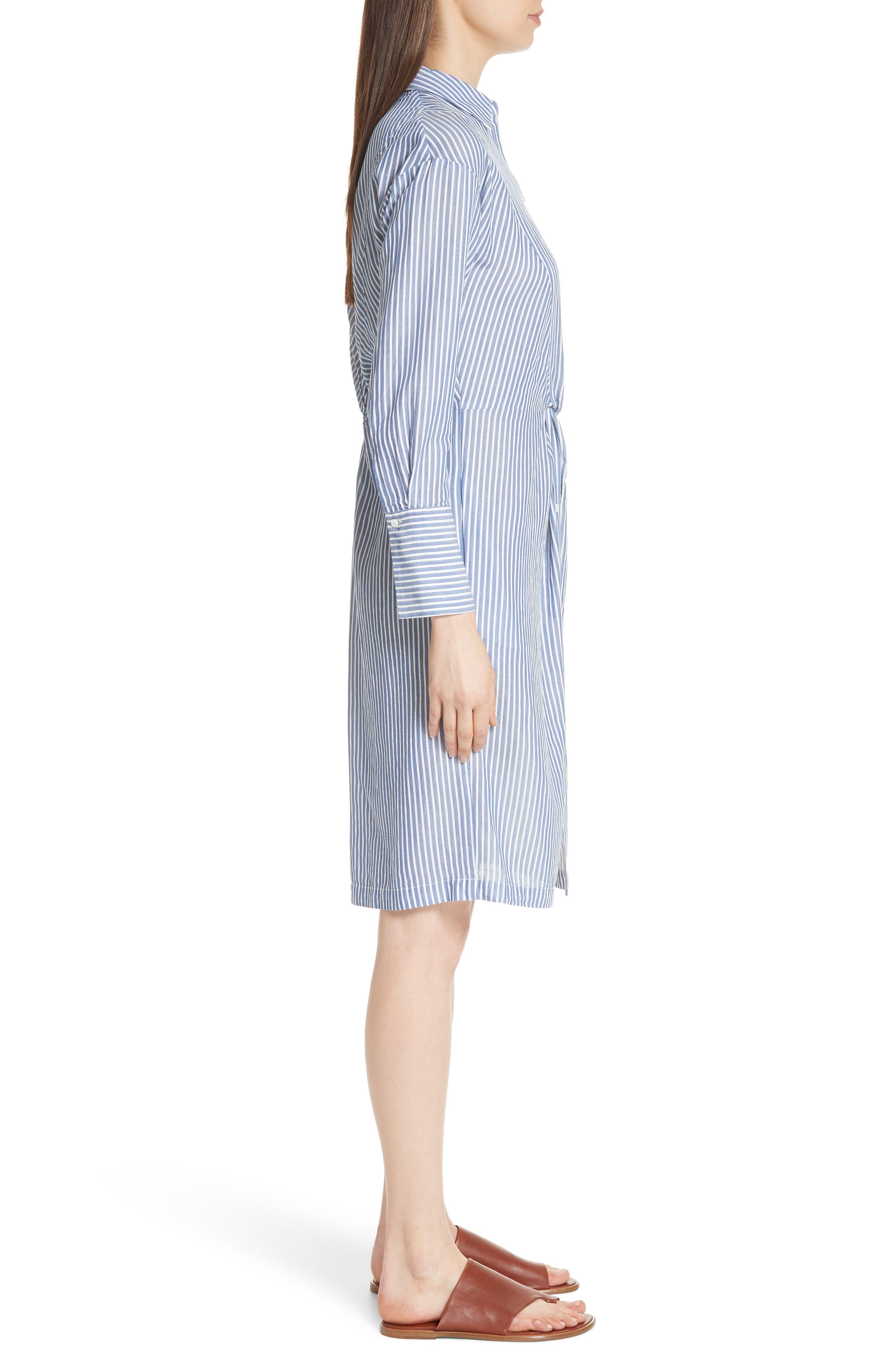 Classic Stripe Twist Cotton Blend Shirtdress,                             Alternate thumbnail 3, color,                             White/ Blue