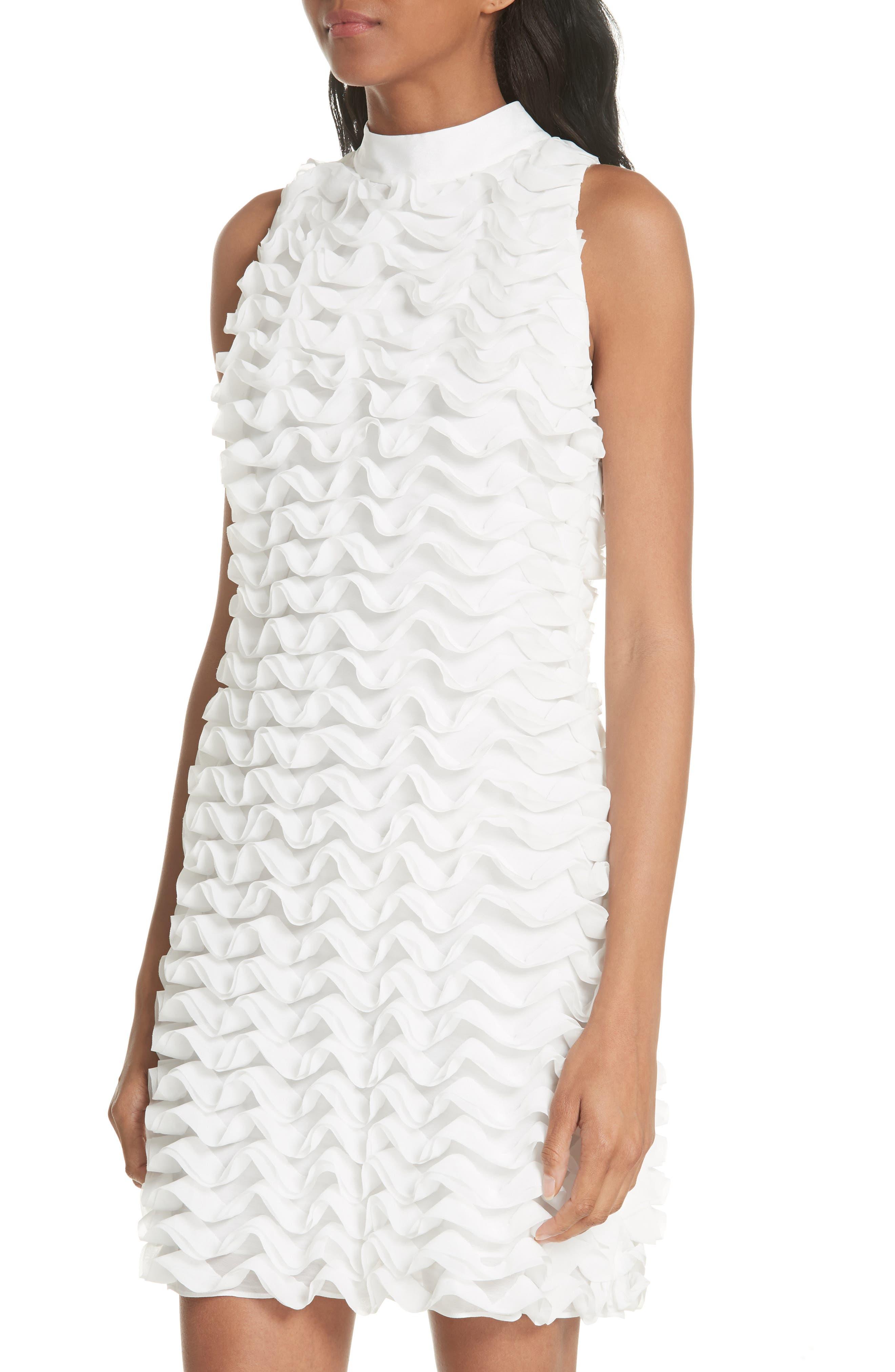 Ruffled Tunic Dress,                             Alternate thumbnail 4, color,                             White