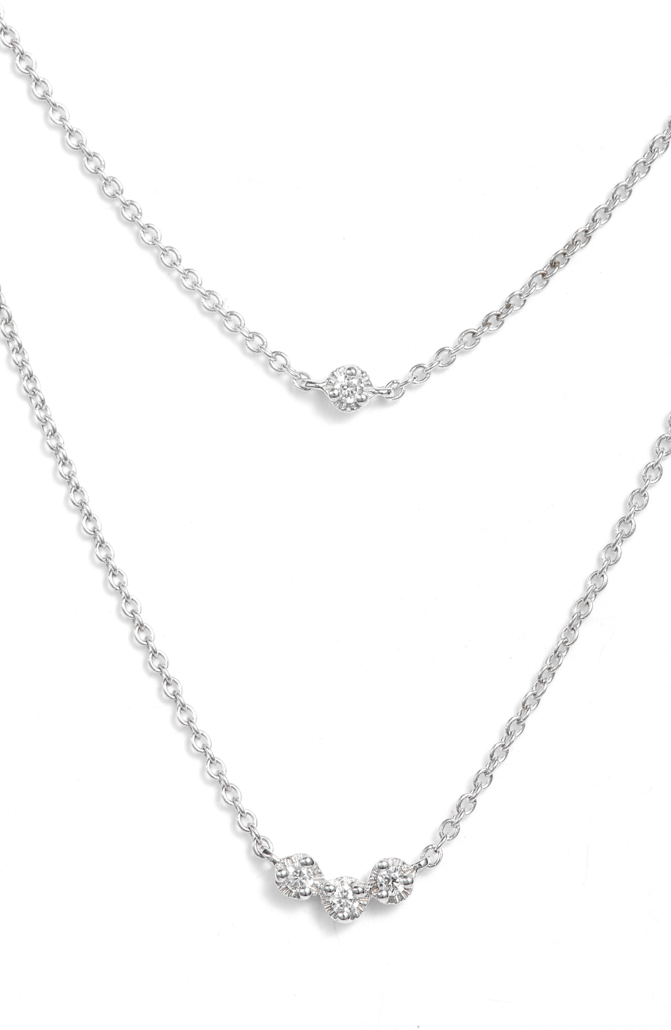 Mila Double Layer Diamond Station Necklace,                             Main thumbnail 1, color,                             White Gold