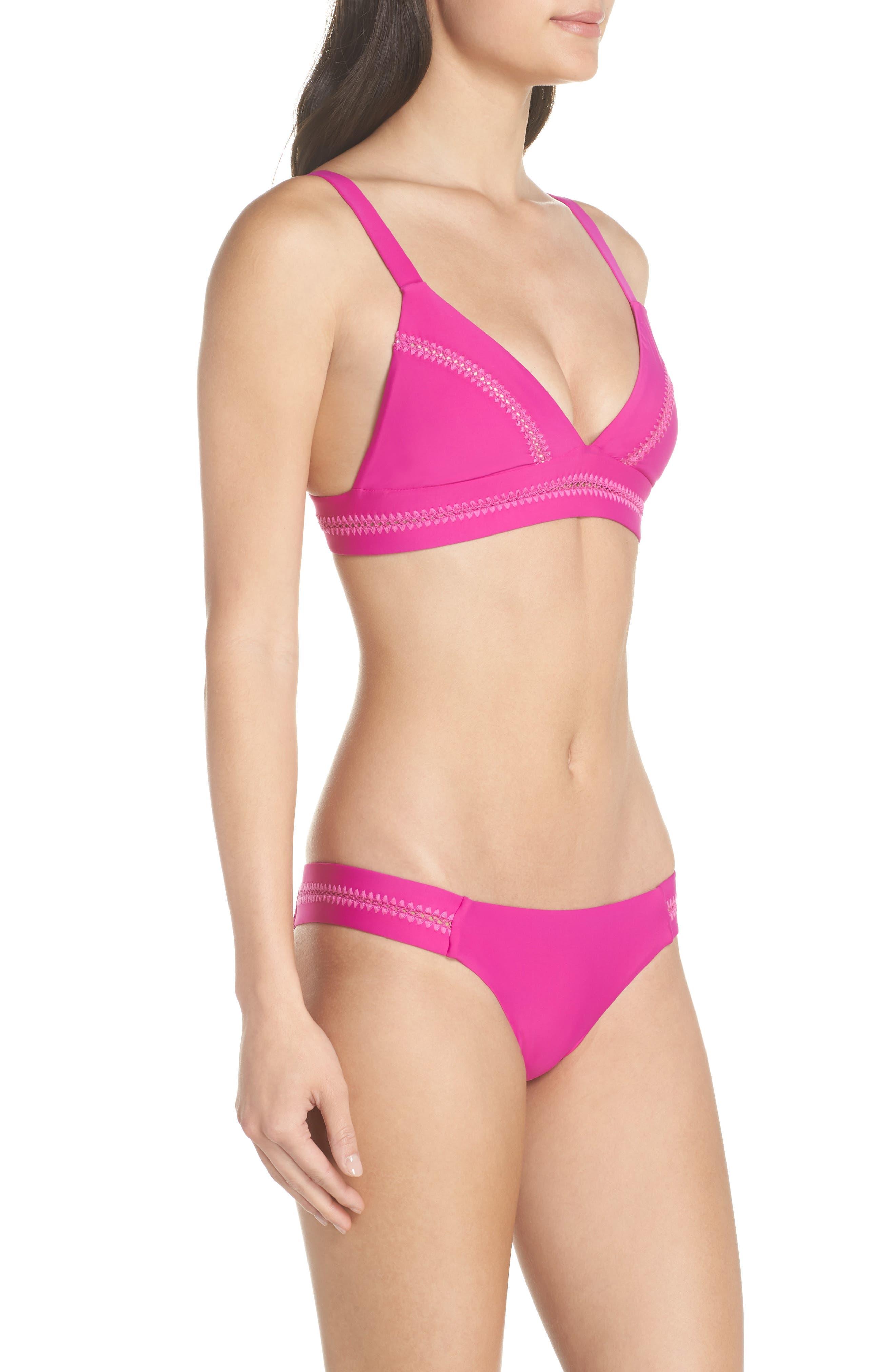 Stitched Elle Halter Bikini Top,                             Alternate thumbnail 5, color,                             Fuchsia
