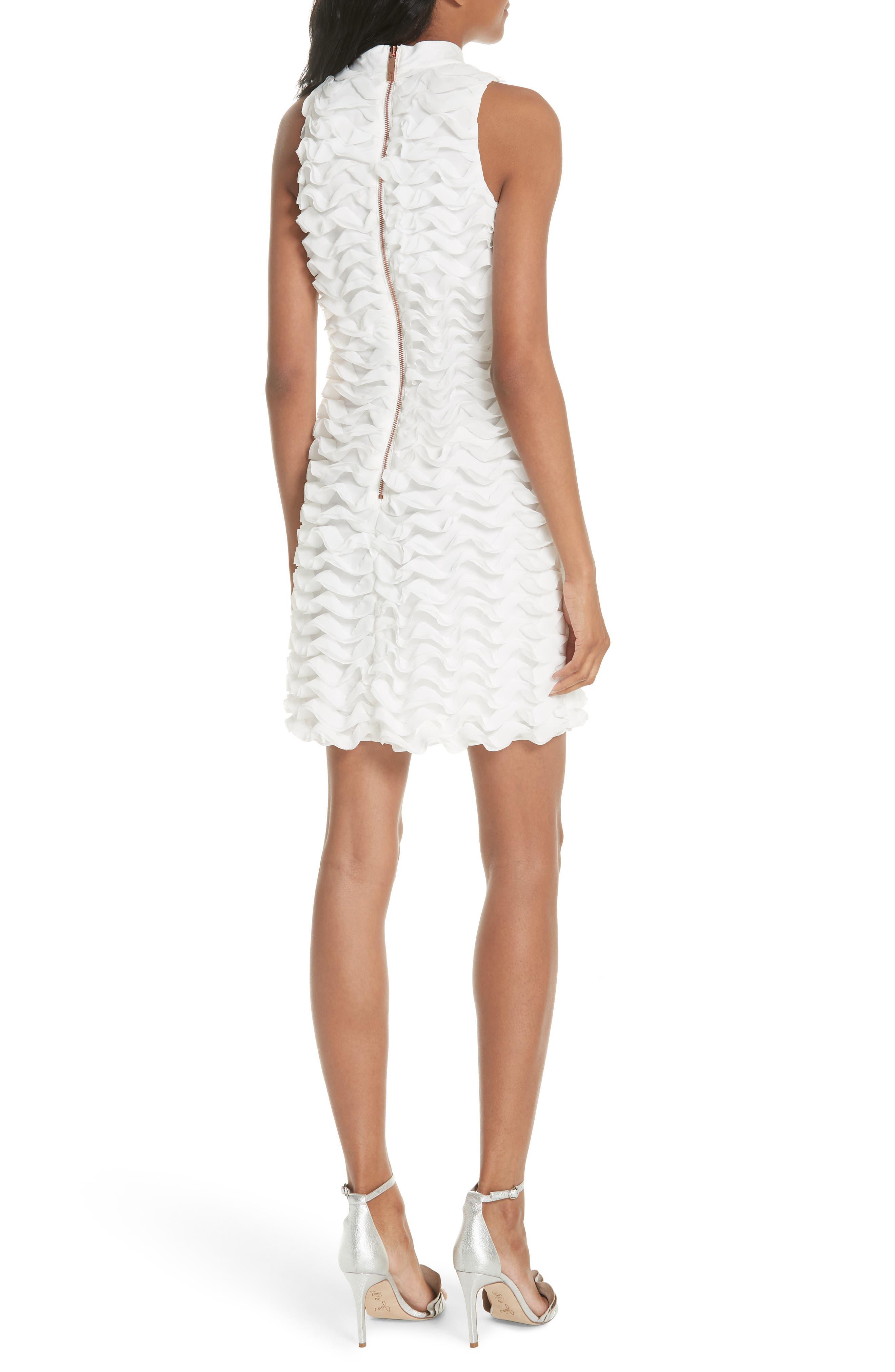 Ruffled Tunic Dress,                             Alternate thumbnail 2, color,                             White