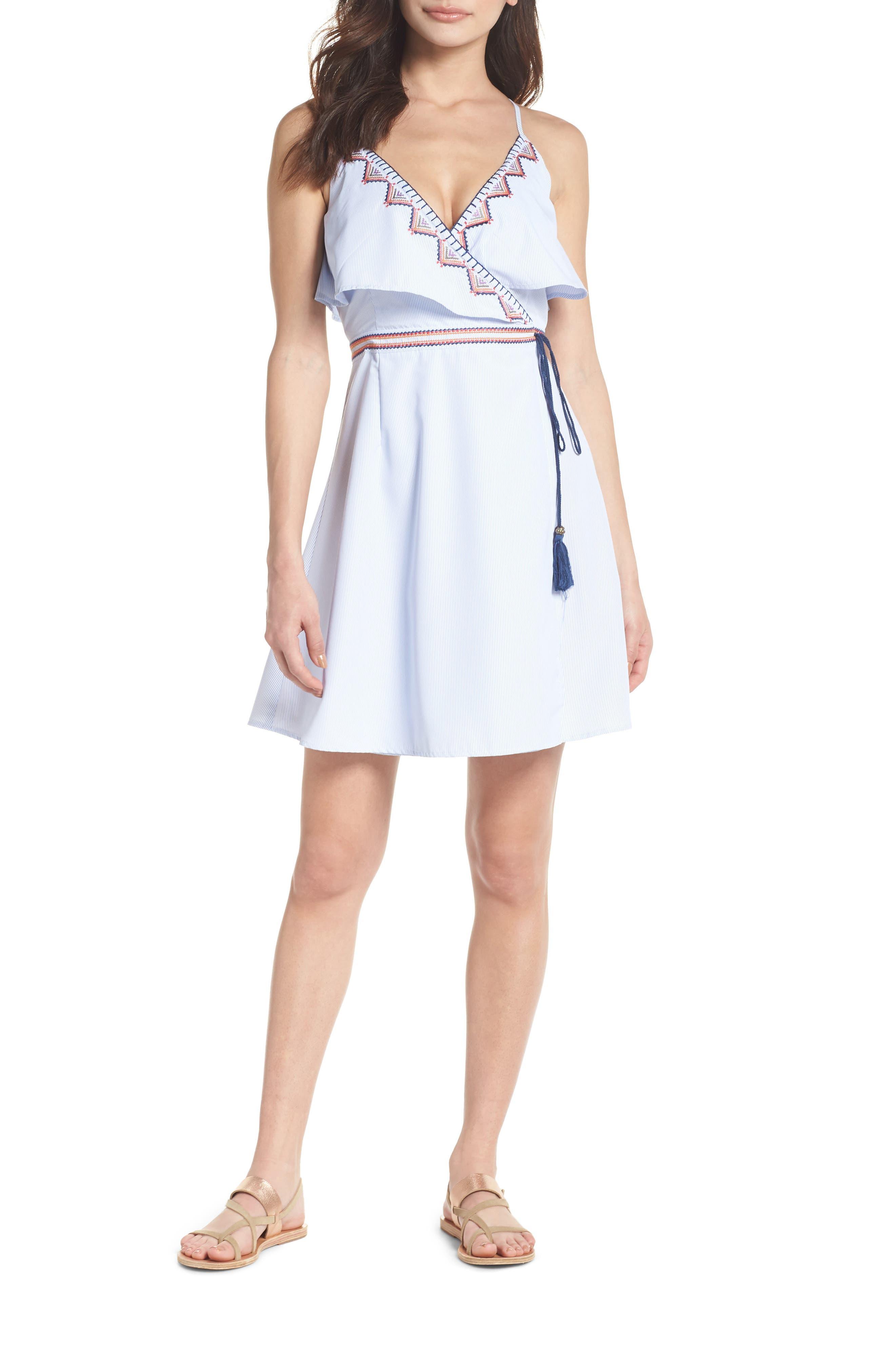 Stripe Wrap Dress,                         Main,                         color, Blue