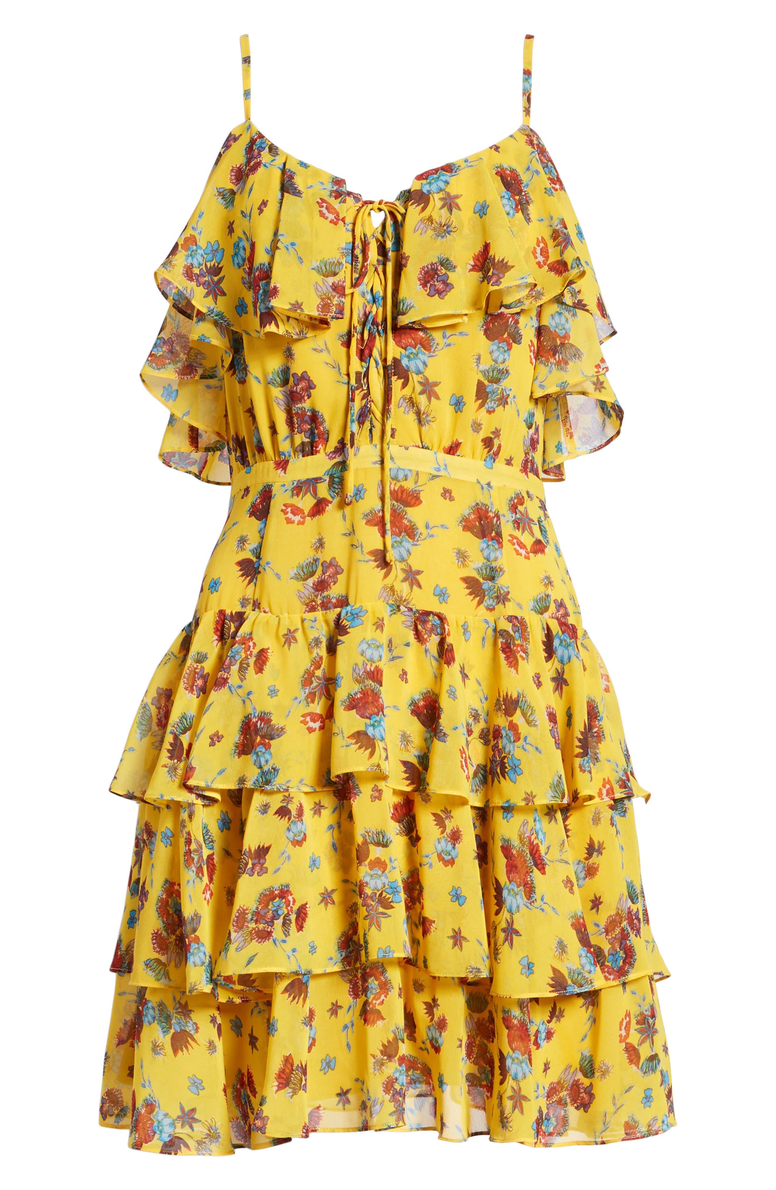 Marla Dress,                             Alternate thumbnail 7, color,                             Yellow Multi