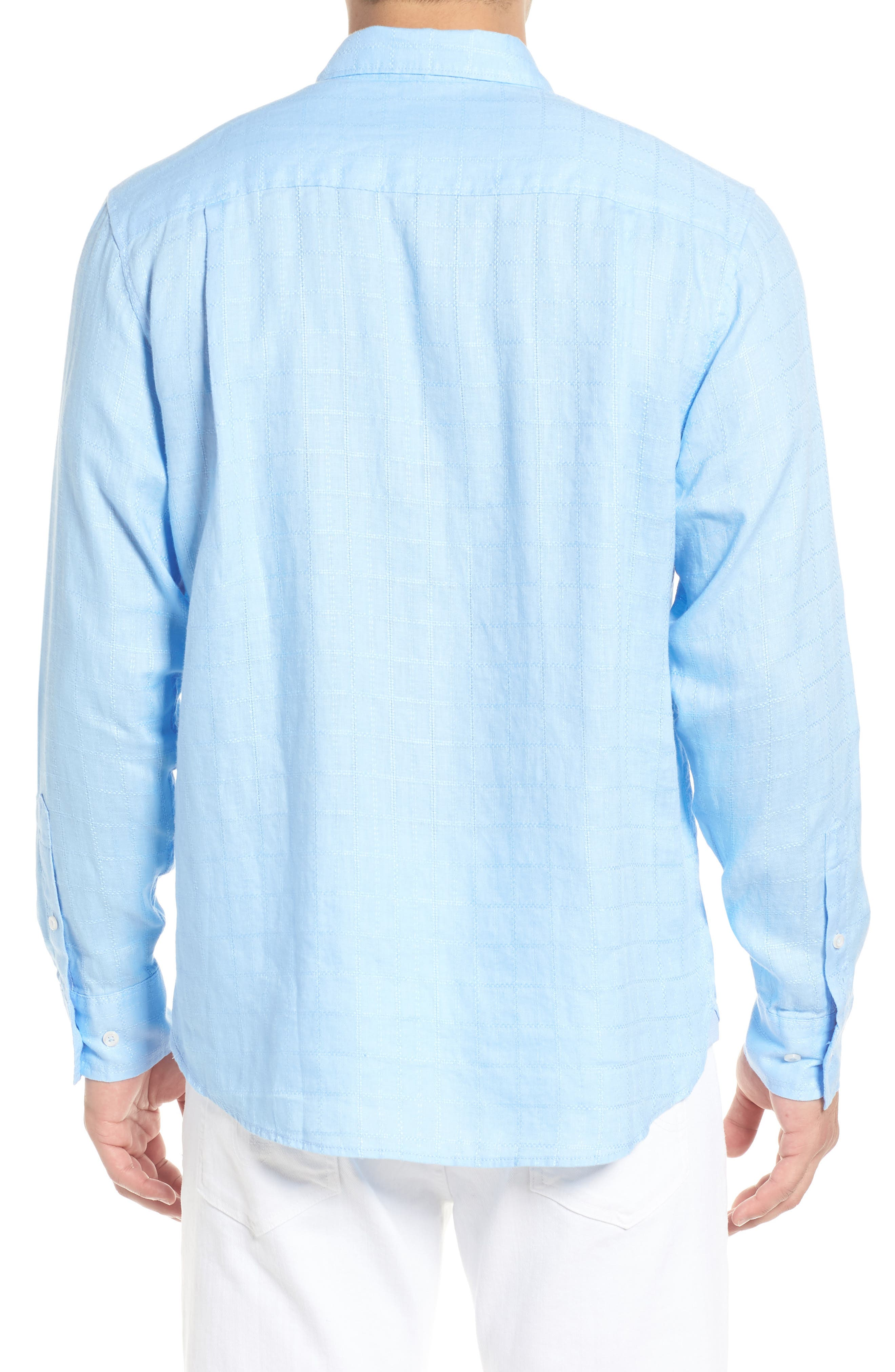 Costa Sera Linen Sport Shirt,                             Alternate thumbnail 3, color,                             Light Sky