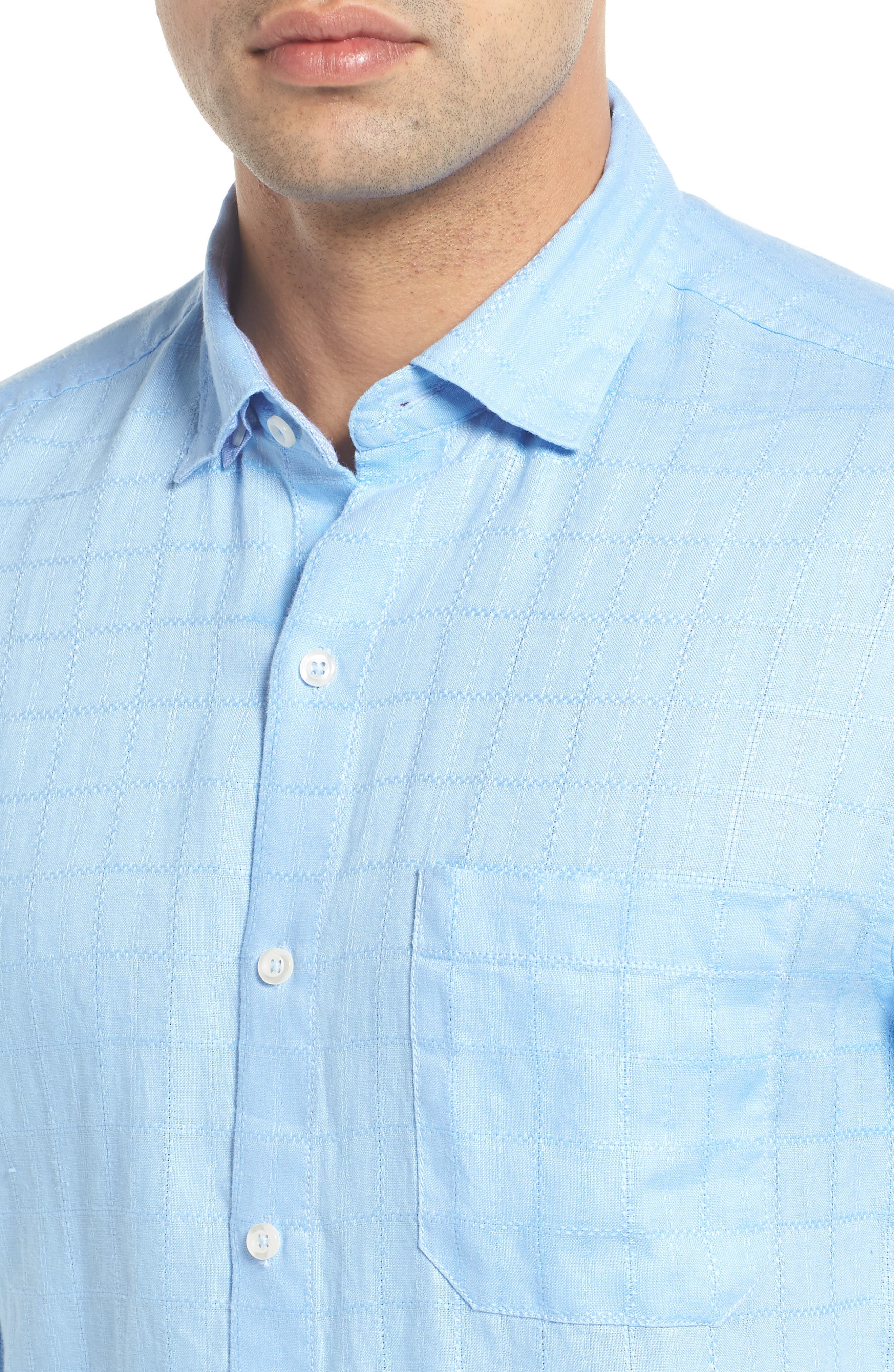 Costa Sera Linen Sport Shirt,                             Alternate thumbnail 2, color,                             Light Sky