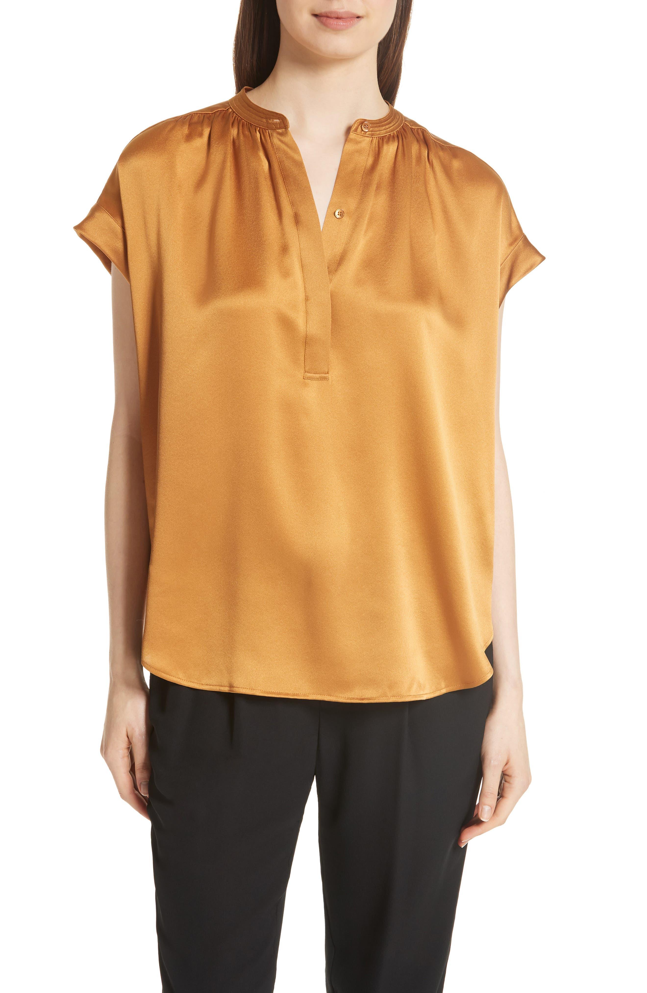 Shirred Neck Silk Top,                         Main,                         color, Turmeric