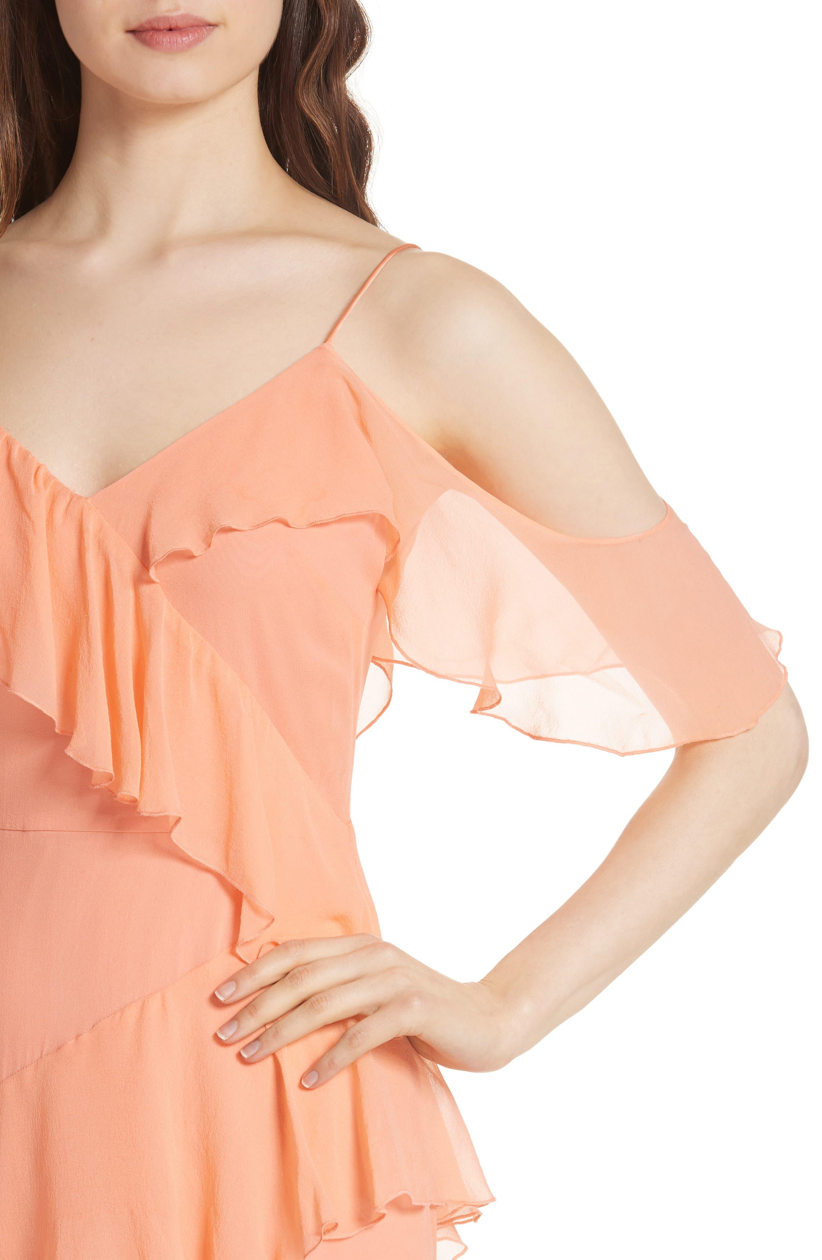 Olympia Asymmetrical Silk Chiffon Dress,                             Alternate thumbnail 4, color,                             Peach