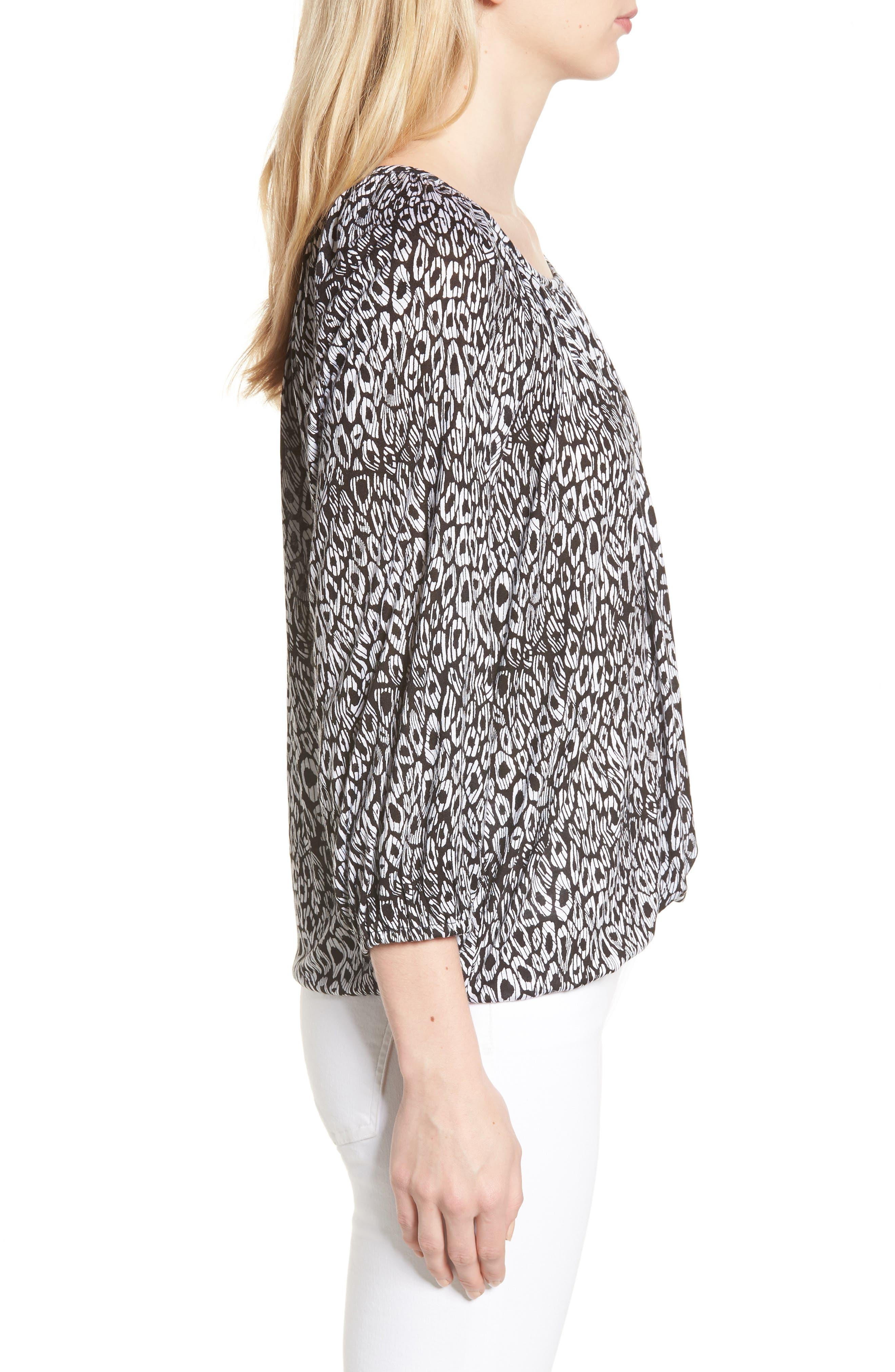Wavy Leopard Stripe Peasant Top,                             Alternate thumbnail 3, color,                             Black/ White
