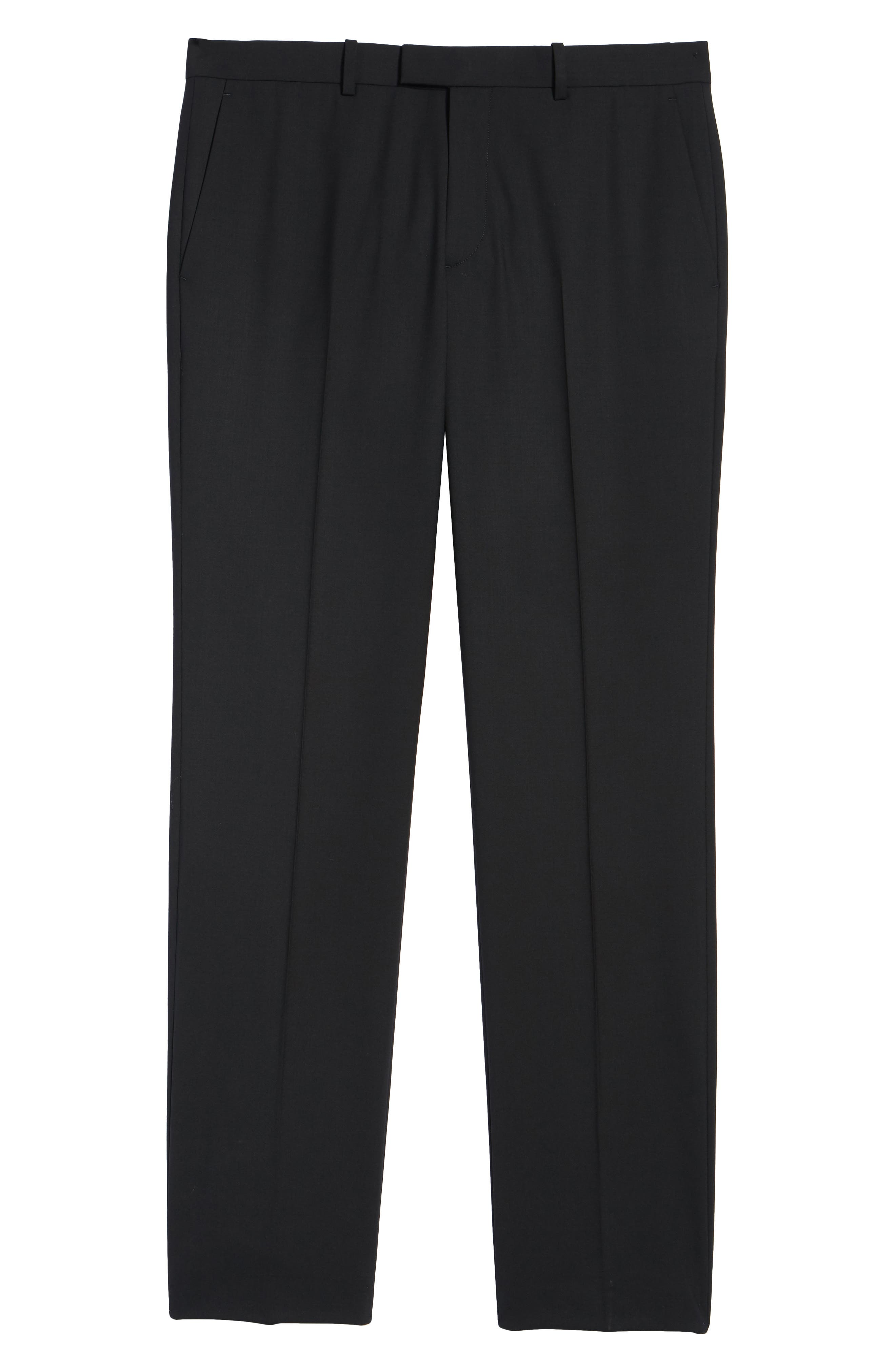 Marlo Flat Front Stretch Wool Pants,                             Alternate thumbnail 6, color,                             Black