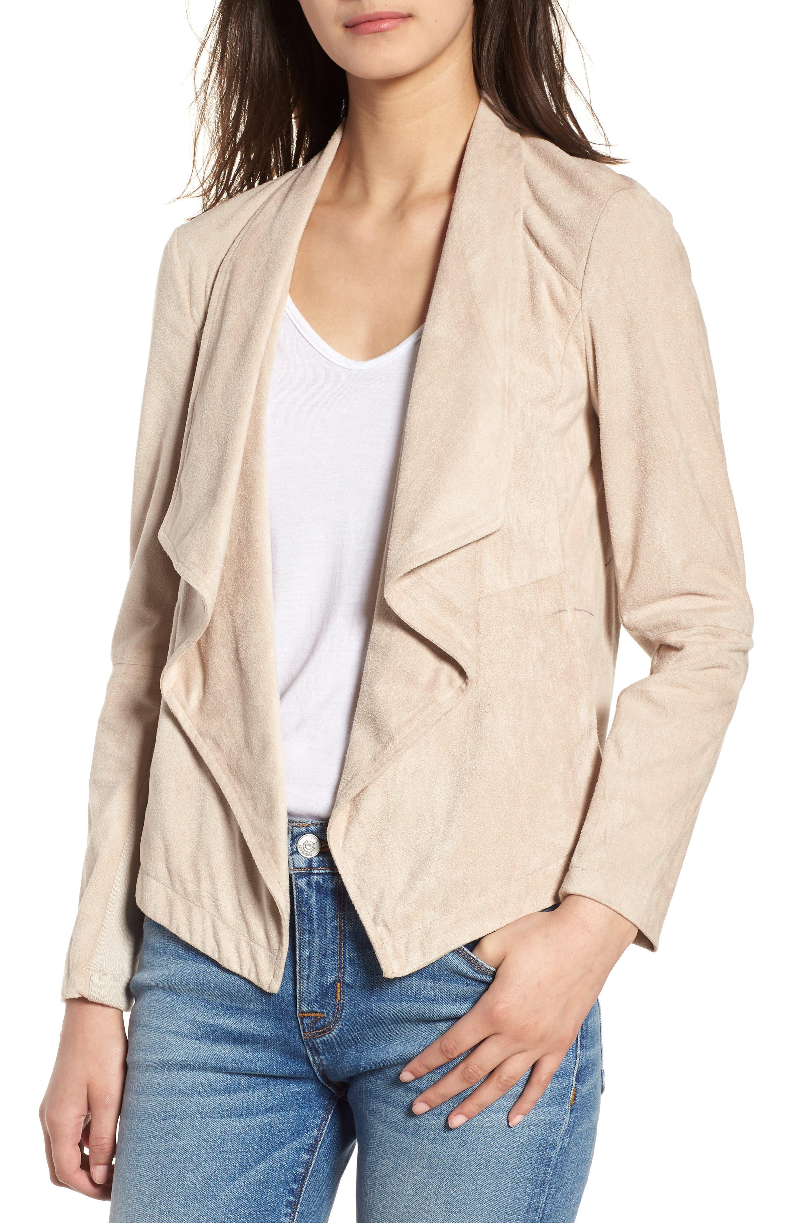 'Nicholson' Faux Suede Drape Front Jacket,                             Main thumbnail 1, color,                             Bone