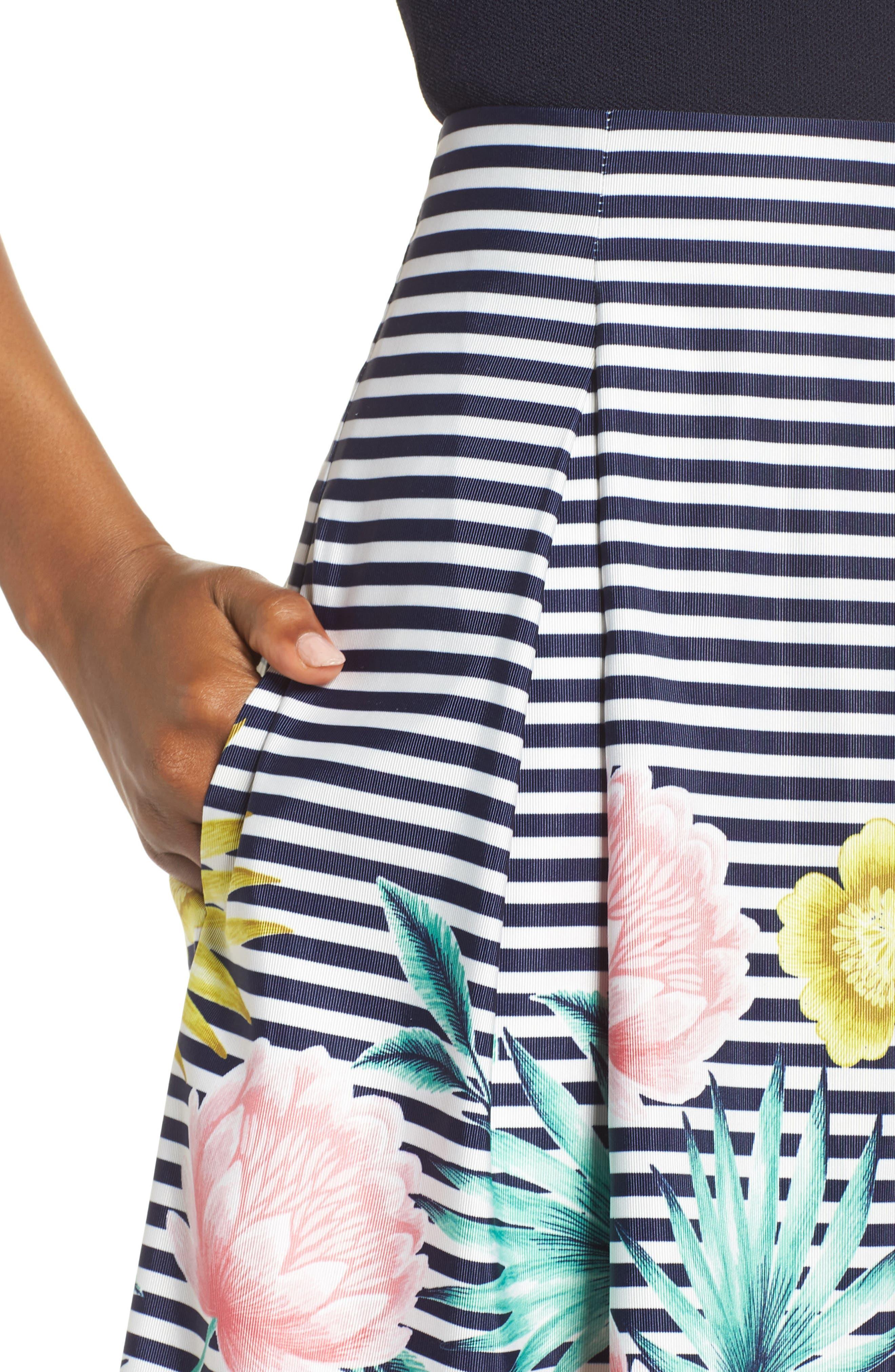 Floral & Stripe A-Line Skirt,                             Alternate thumbnail 5, color,                             Navy