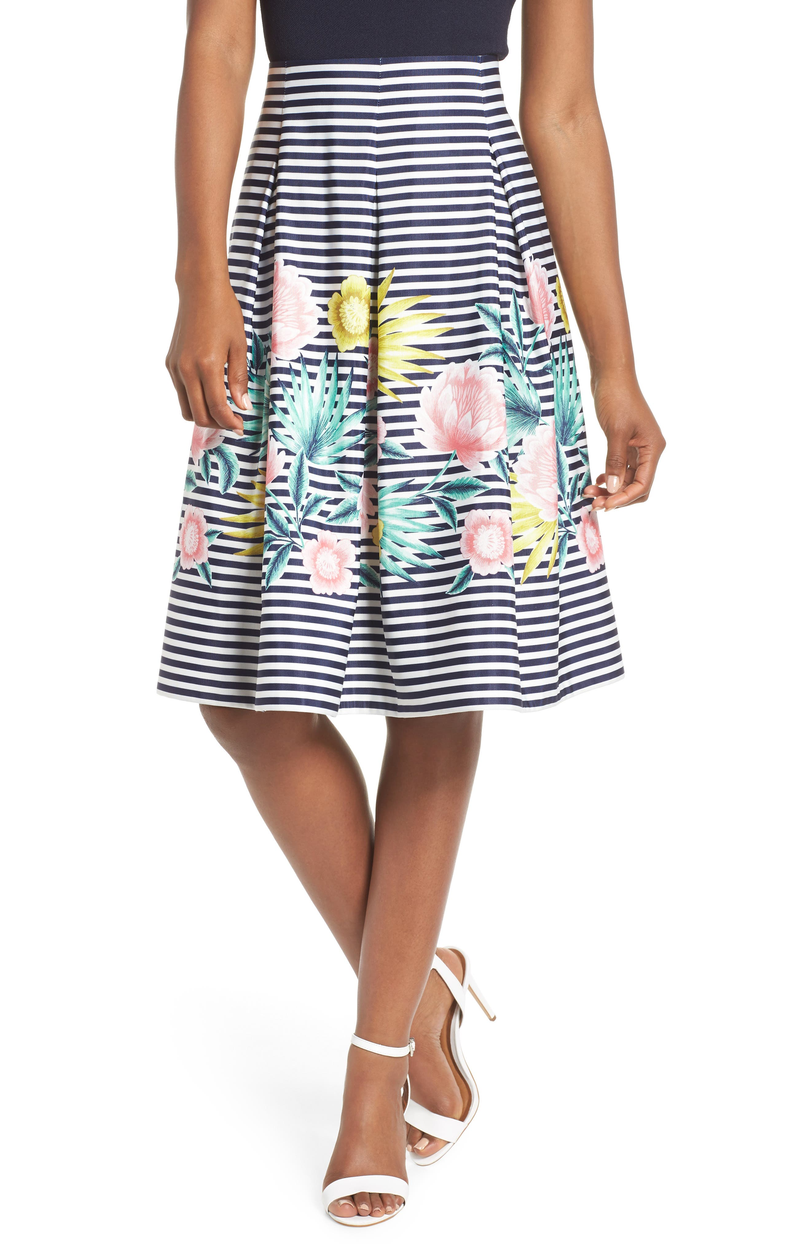 Floral & Stripe A-Line Skirt,                         Main,                         color, Navy