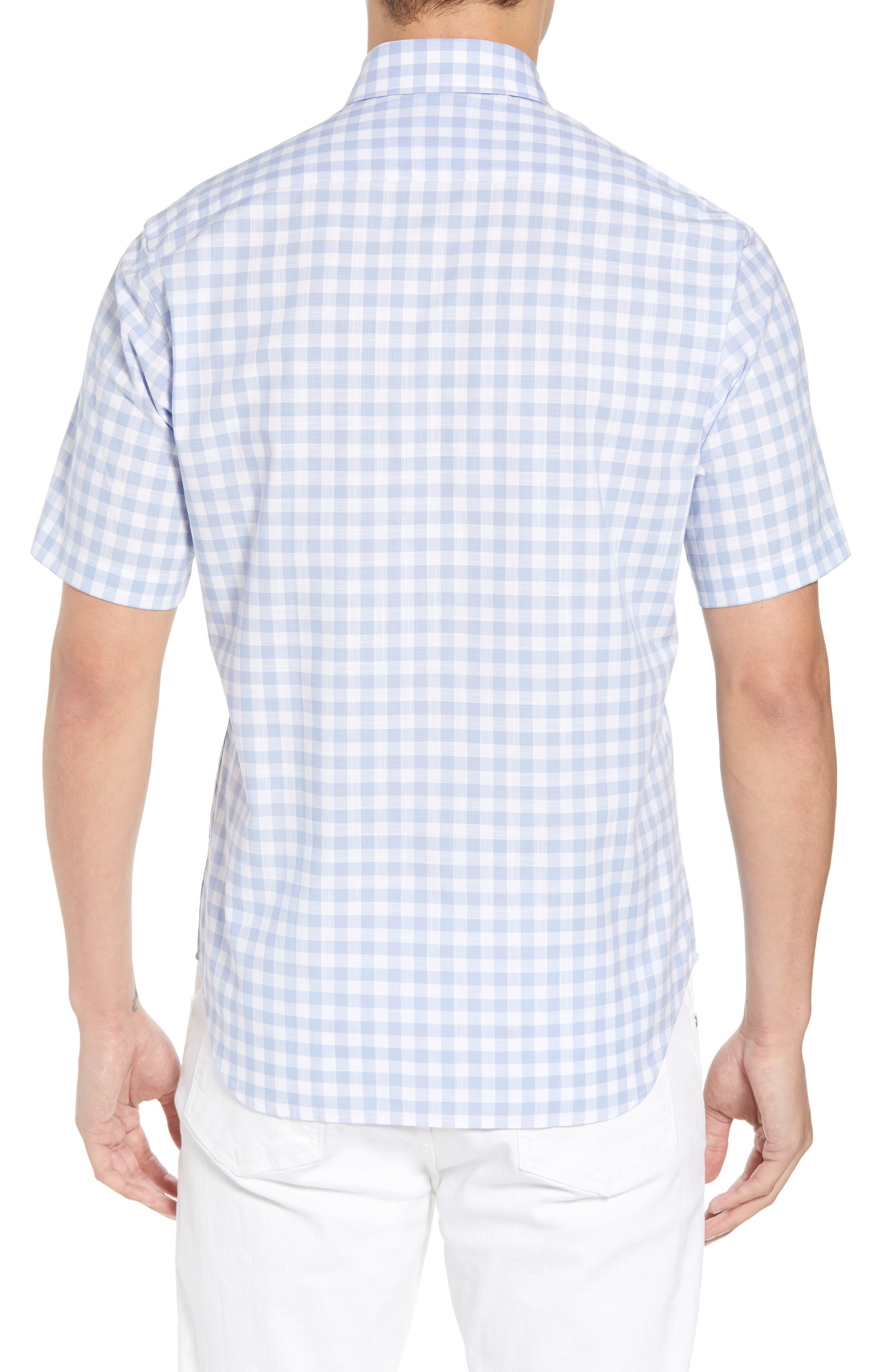 Hawes Regular Fit Check Sport Shirt,                             Alternate thumbnail 3, color,                             Light Blue