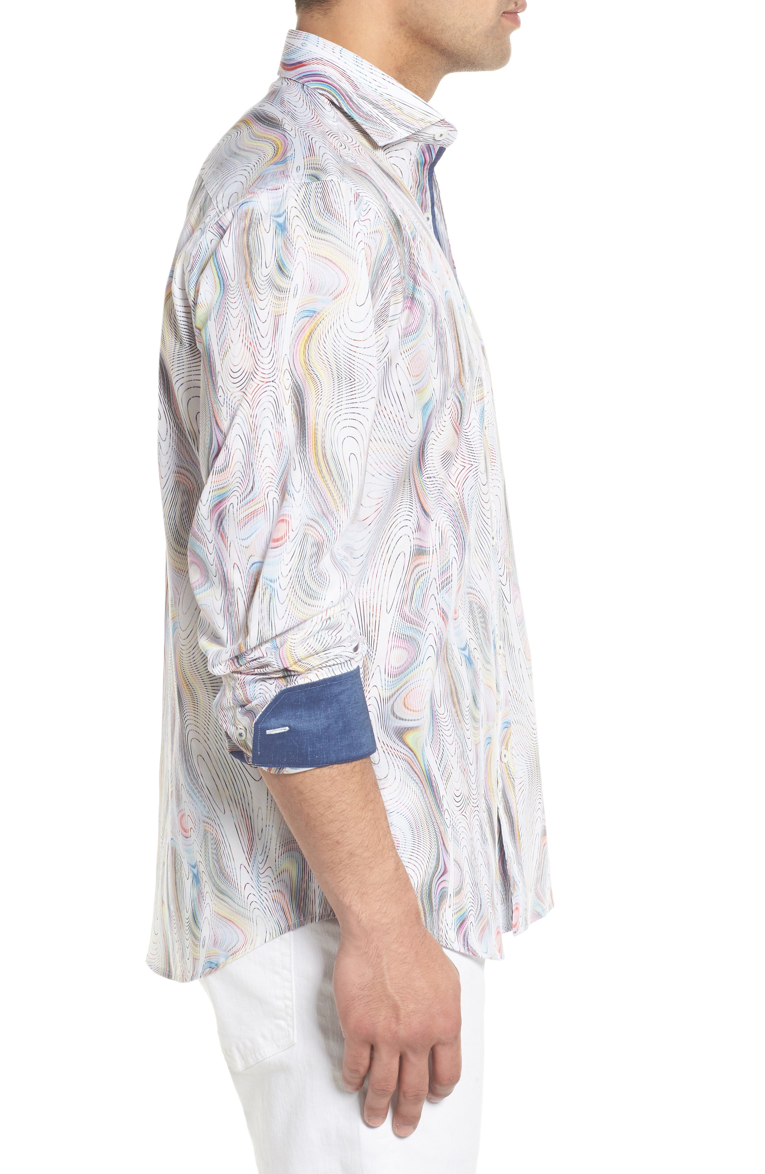 Classic Fit Abstract Print Sport Shirt,                             Alternate thumbnail 4, color,                             Candy