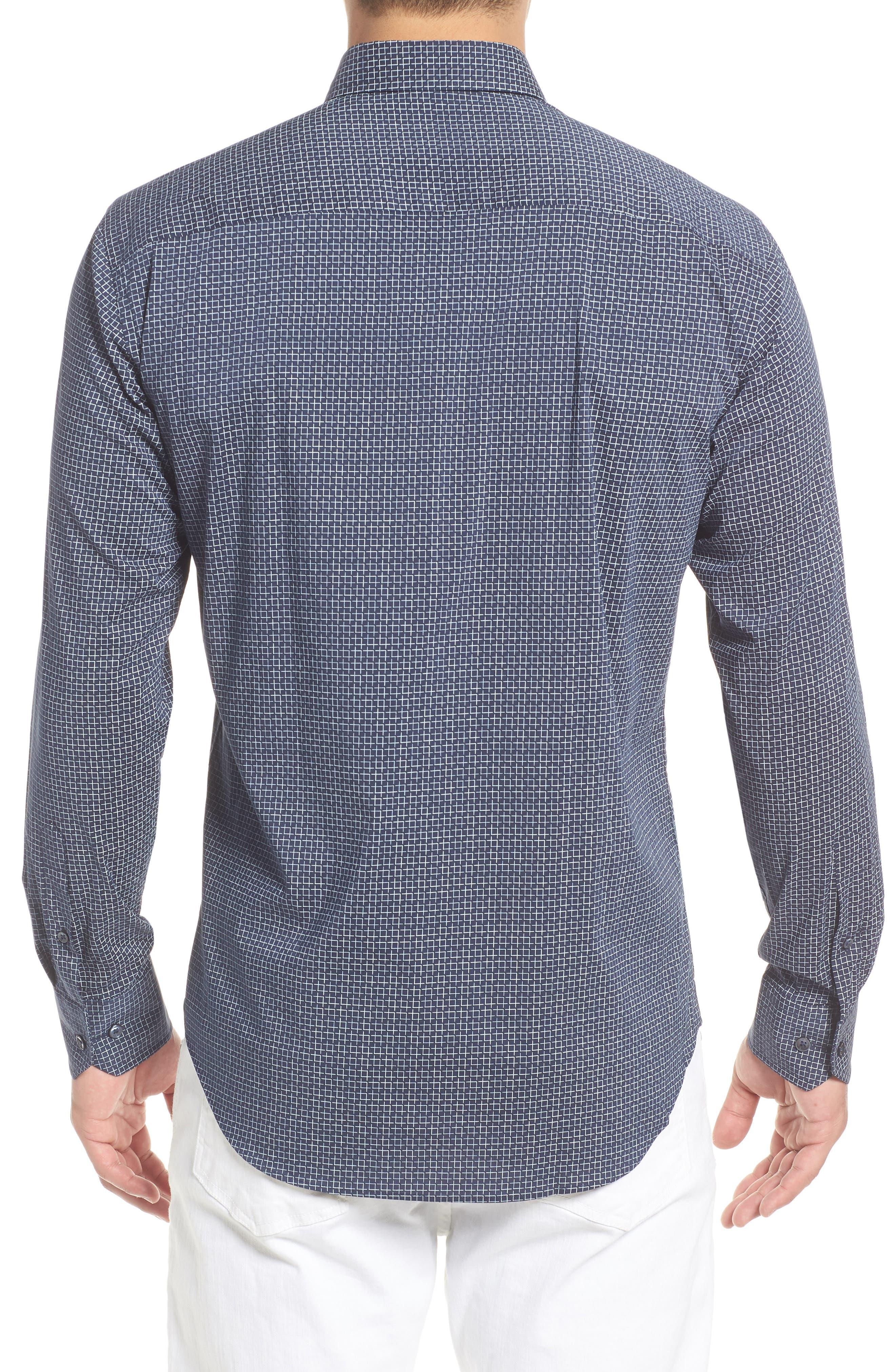Shaped Fit Broken Grid Performance Sport Shirt,                             Alternate thumbnail 3, color,                             Navy
