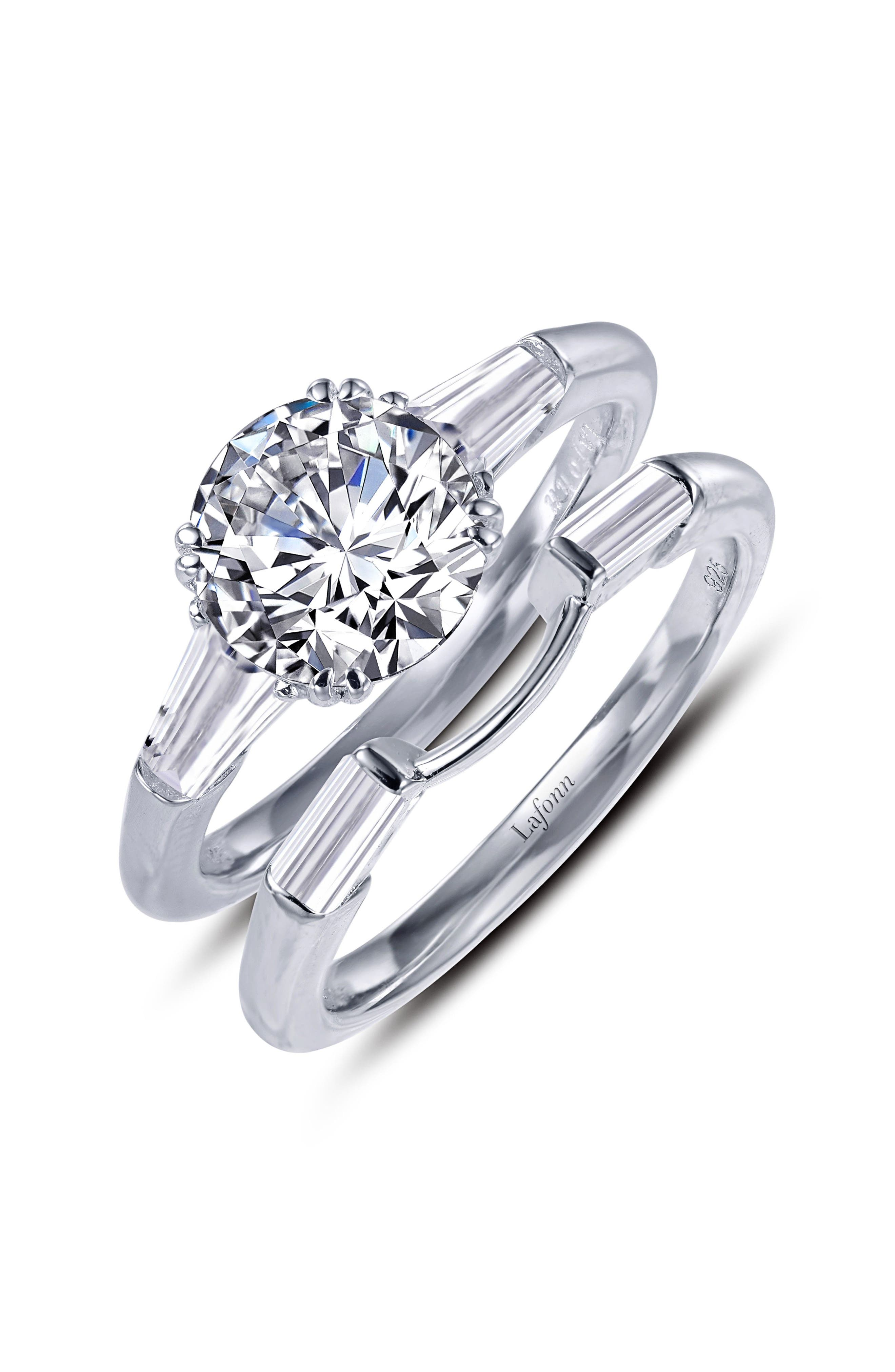3-Stone Ring,                             Alternate thumbnail 2, color,                             Silver/ Clear