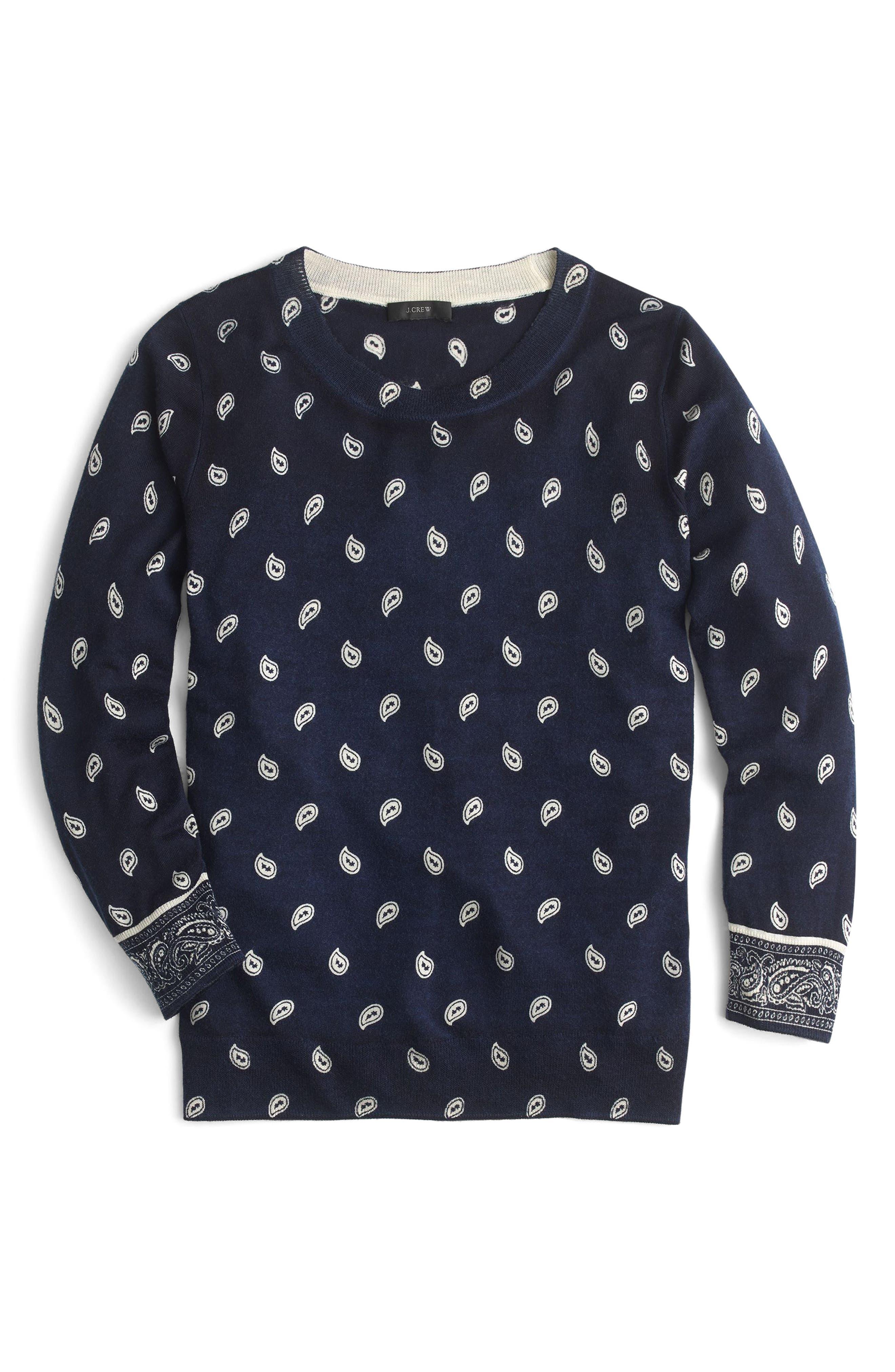 J.Crew Bandana Print Tippi Sweater,                             Alternate thumbnail 2, color,                             Navy Ivory