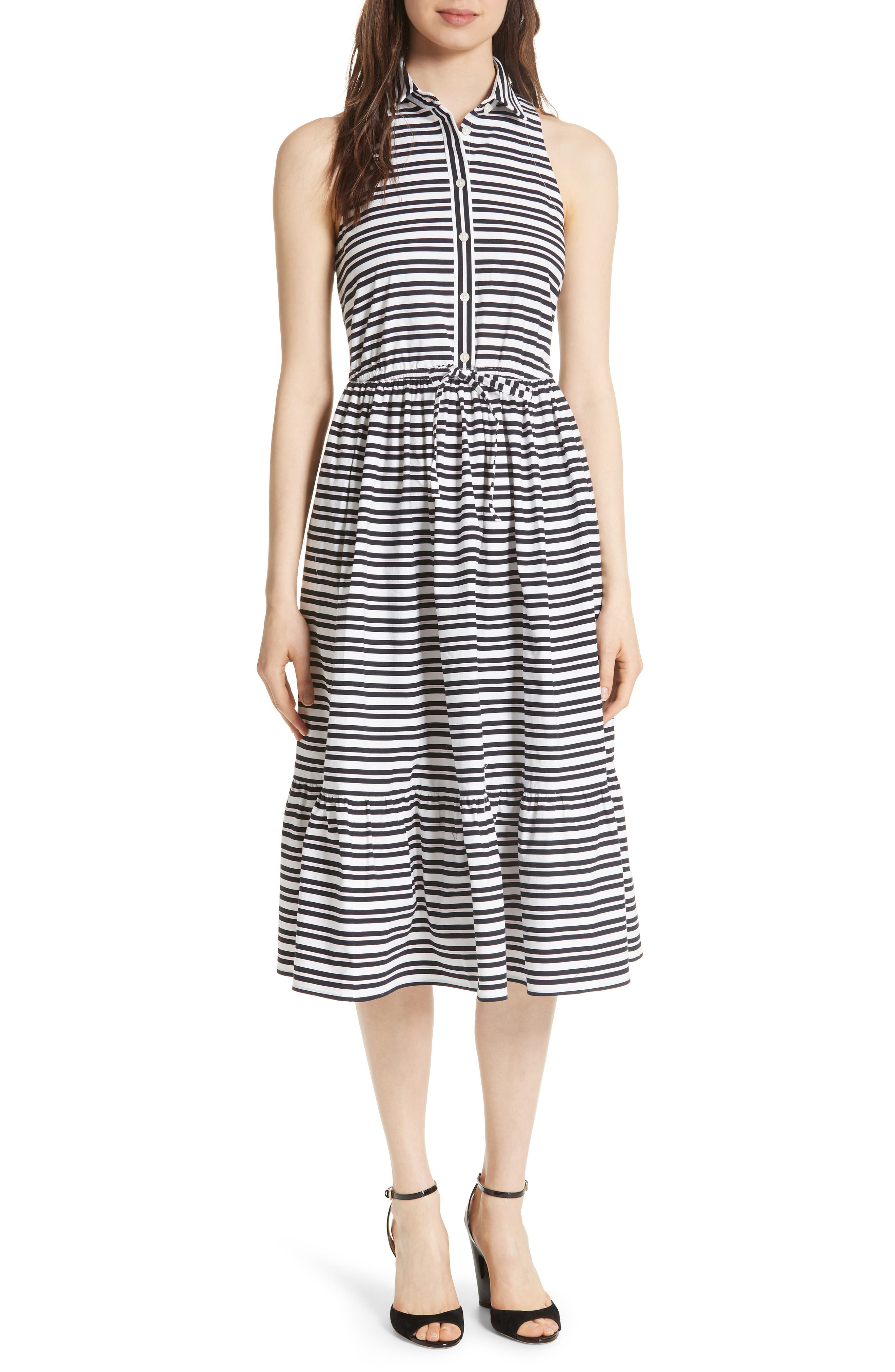 candy stripe stretch cotton shirtdress,                             Main thumbnail 1, color,                             Rich Navy