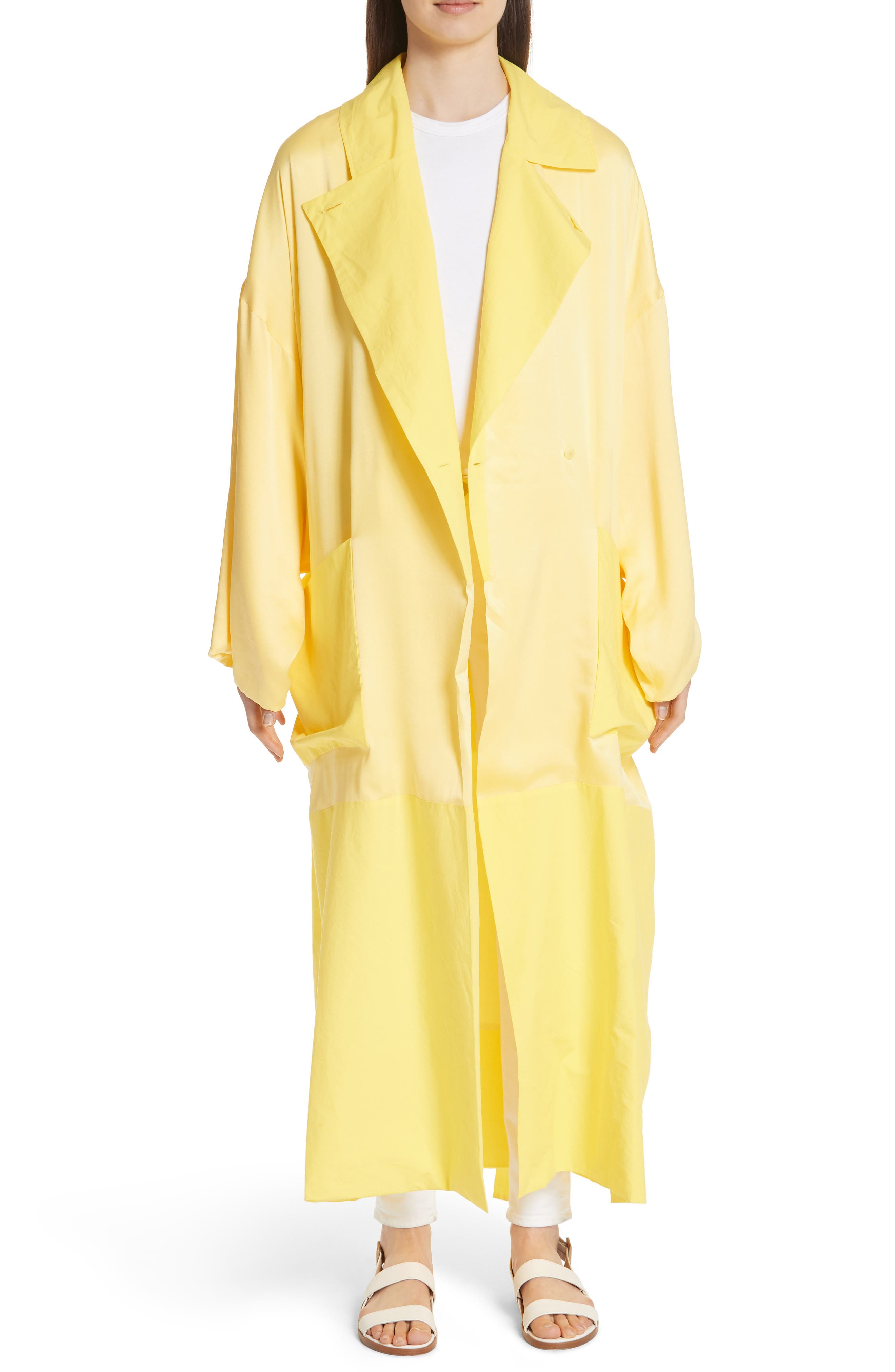 Soft Silk Wrap Coat,                             Main thumbnail 1, color,                             Buttercup