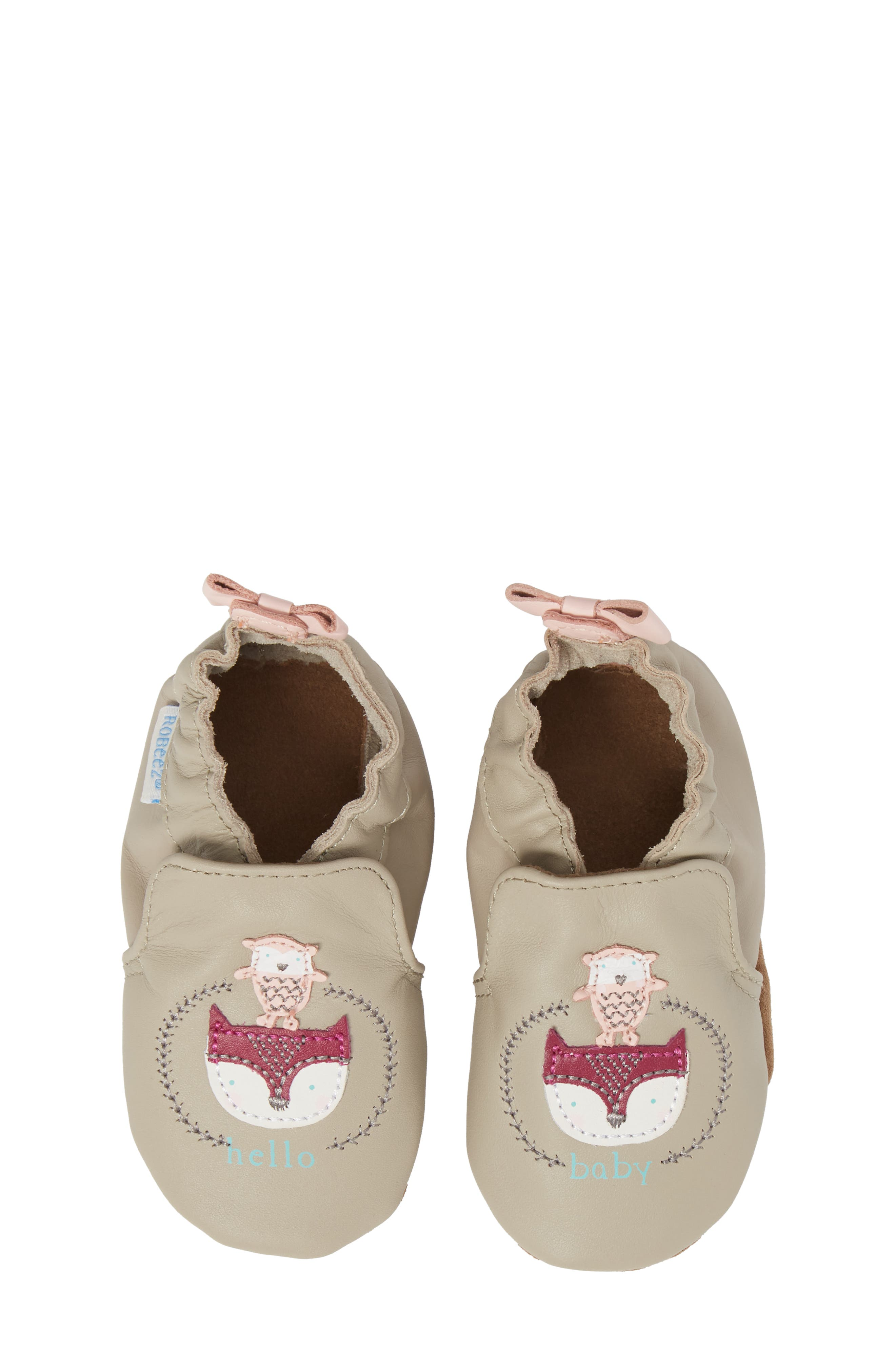Hello Baby Friends Moccasin Crib Shoe,                             Alternate thumbnail 5, color,                             Light Grey