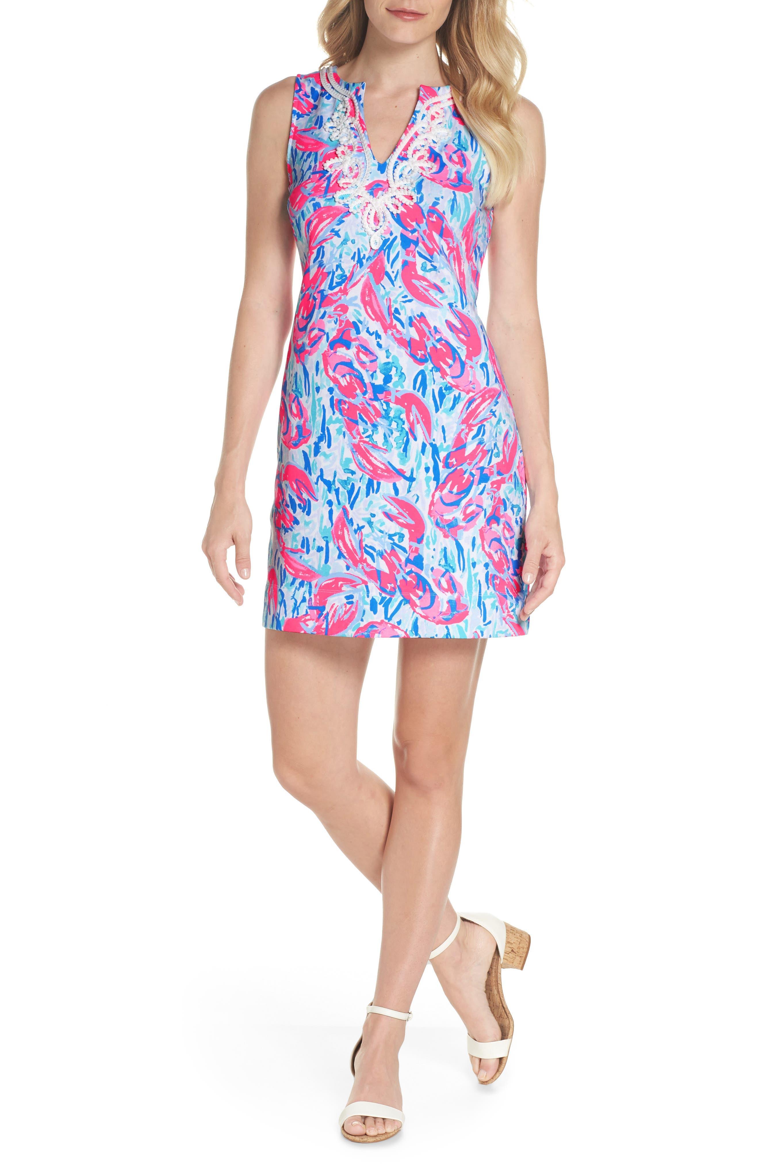 Harper Shift Dress,                             Main thumbnail 1, color,                             Cosmic Coral Cracked Up