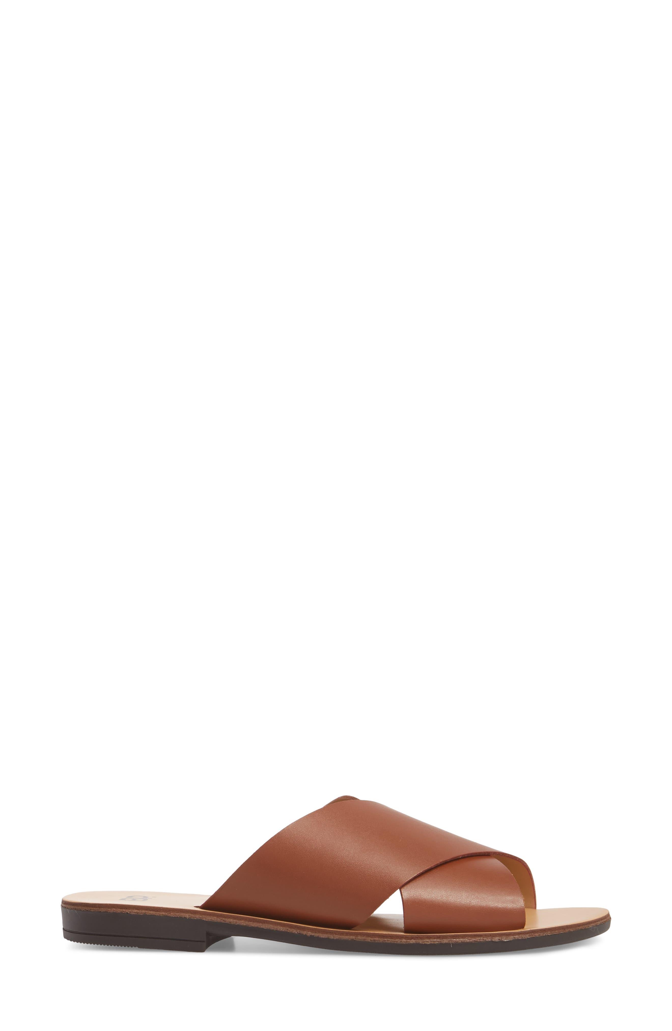 Twist Cross Strap Sandal,                             Alternate thumbnail 3, color,                             Cognac Faux Leather