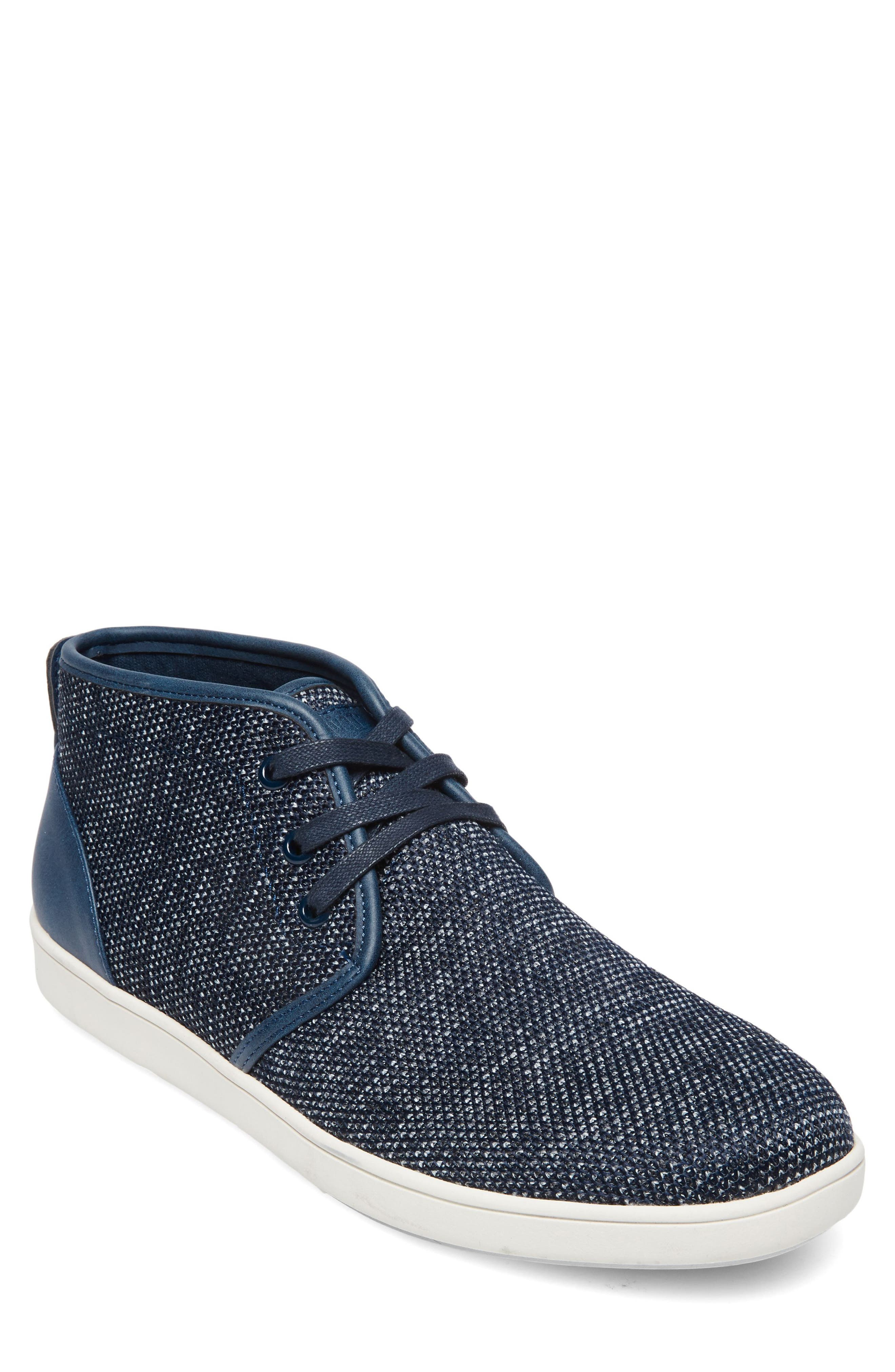Fowler Knit Mid Top Sneaker,                             Main thumbnail 1, color,                             Navy Leather