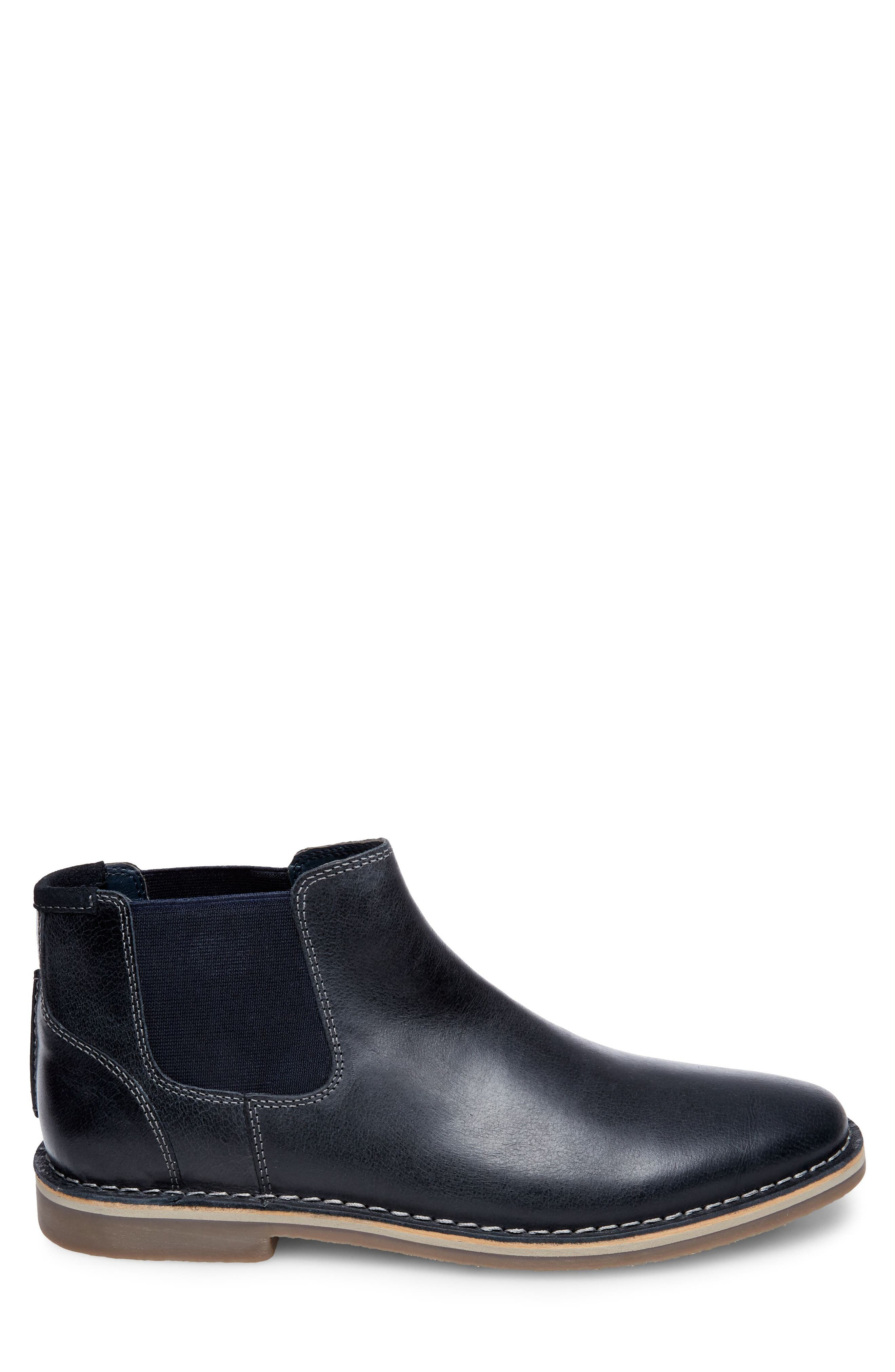 Horus Mid Top Chelsea Boot,                             Alternate thumbnail 3, color,                             Navy Leather