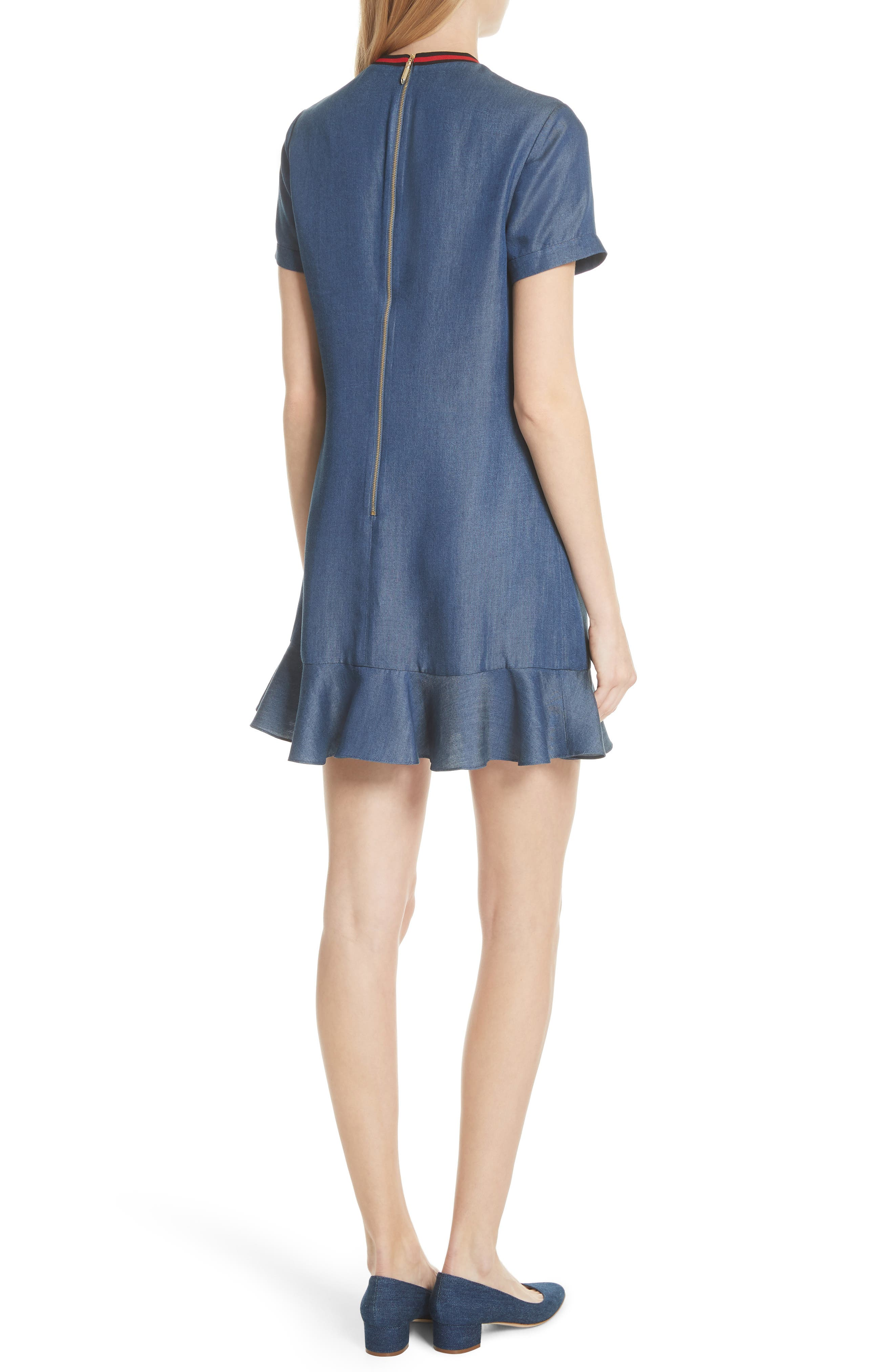 Colour by Numbers Denim Dress,                             Alternate thumbnail 2, color,                             Mid-Wash