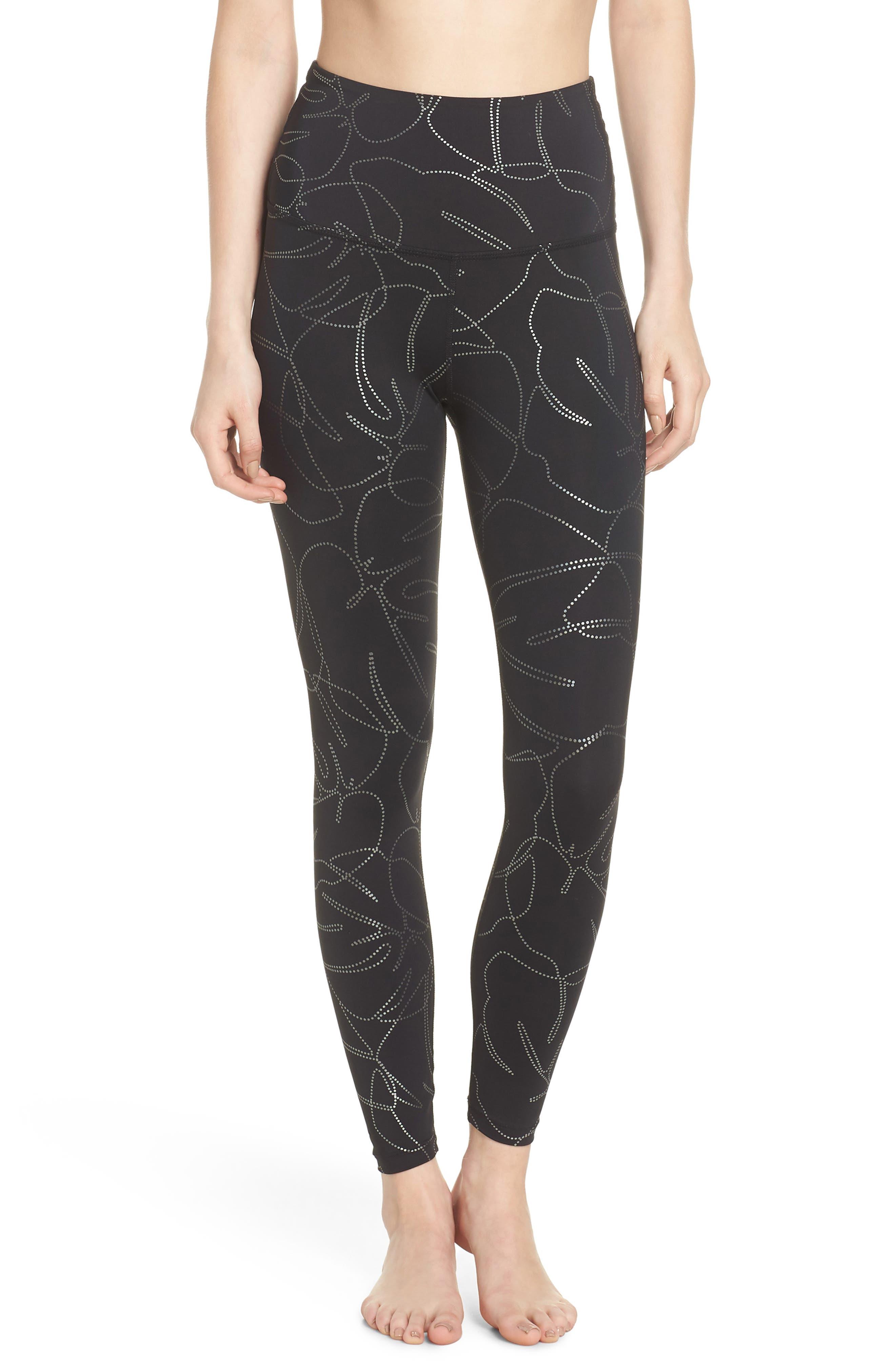 Flashback High Waist Midi Leggings,                         Main,                         color, Monstera Leaf Silver-Black