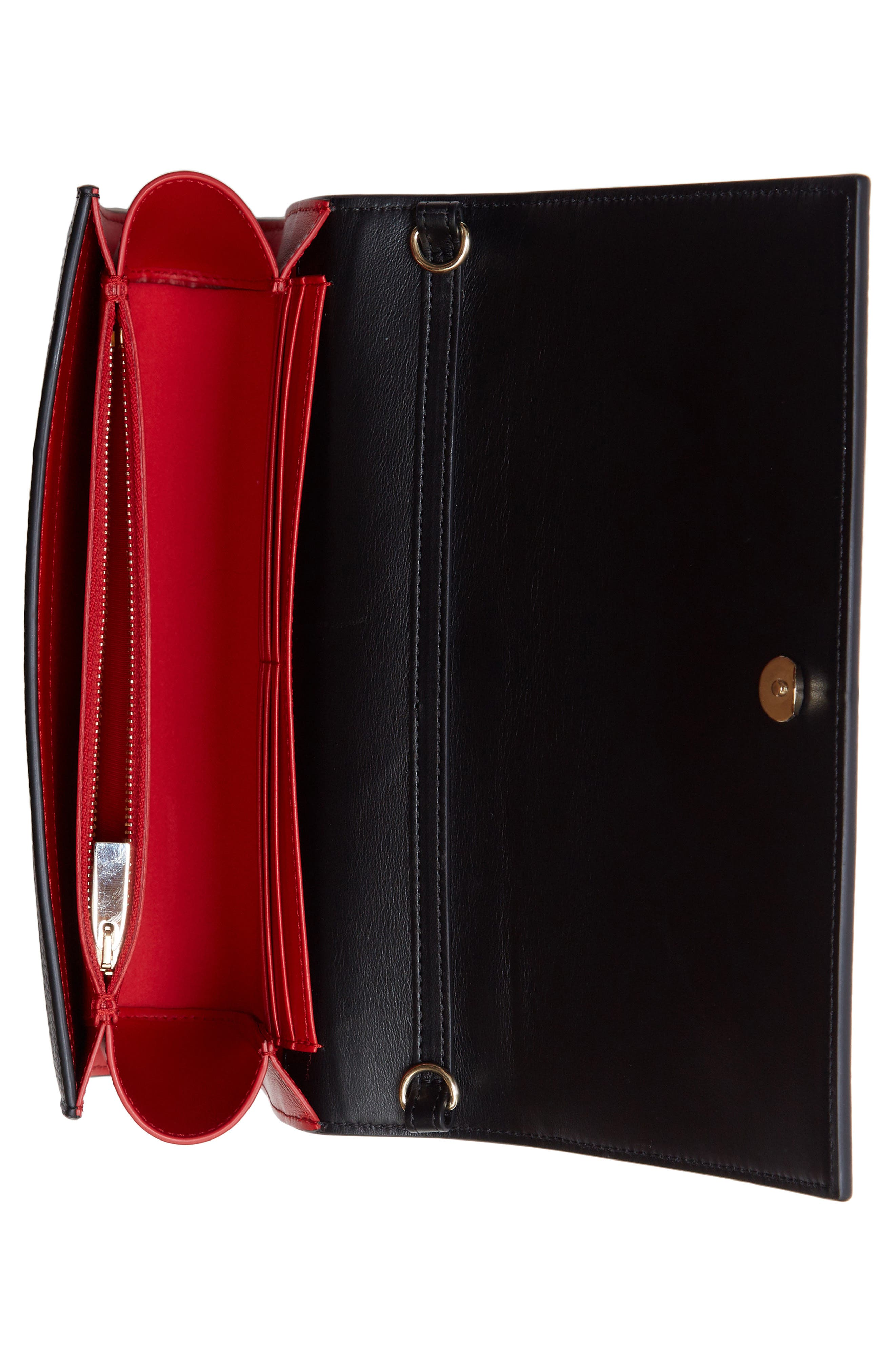 Paloma Empire Calfskin Clutch,                             Alternate thumbnail 3, color,                             Black/ Red-Gold