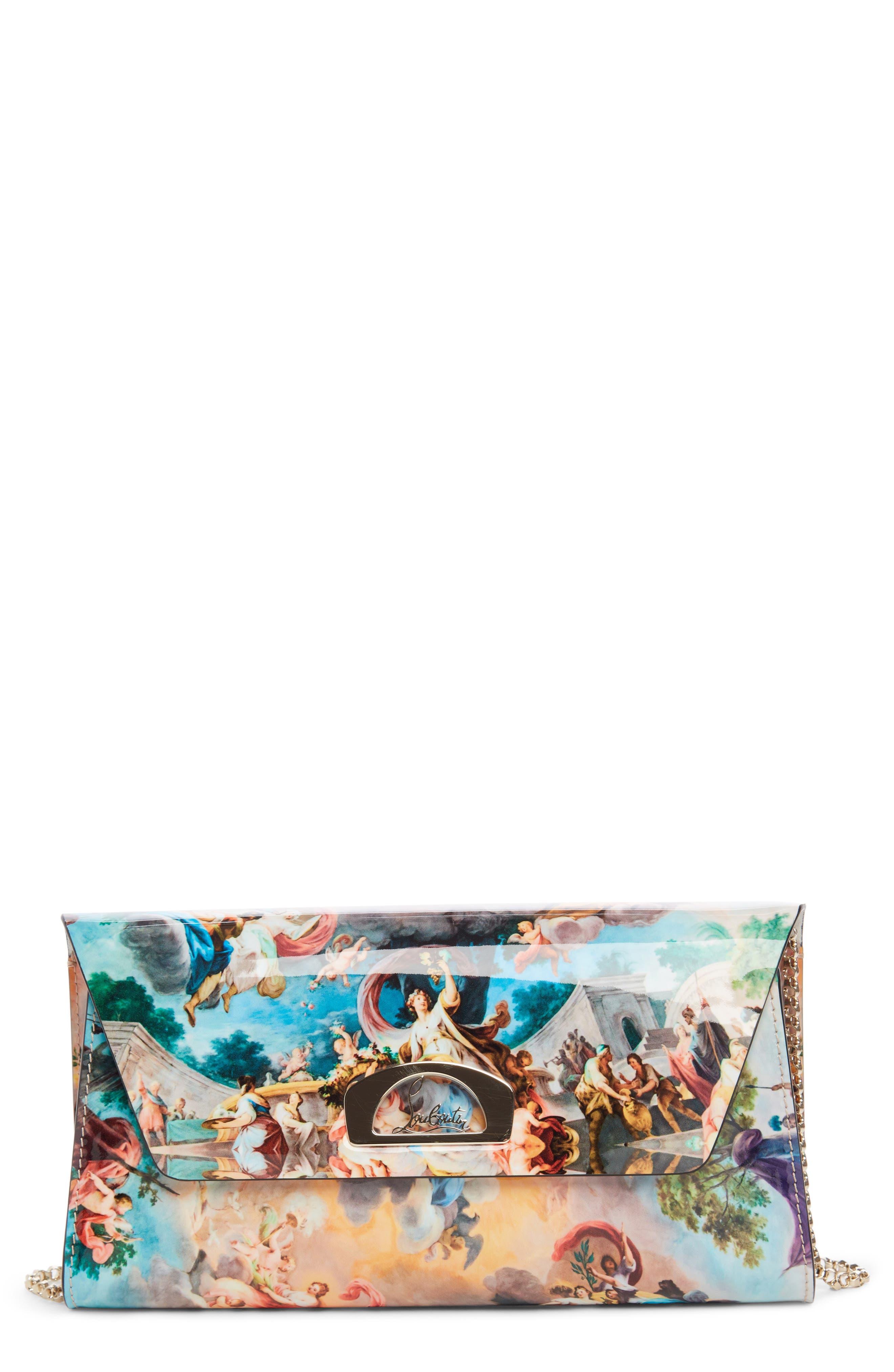 Vero Dodat Fresco Print Leather Clutch,                             Main thumbnail 1, color,                             Blue Multi