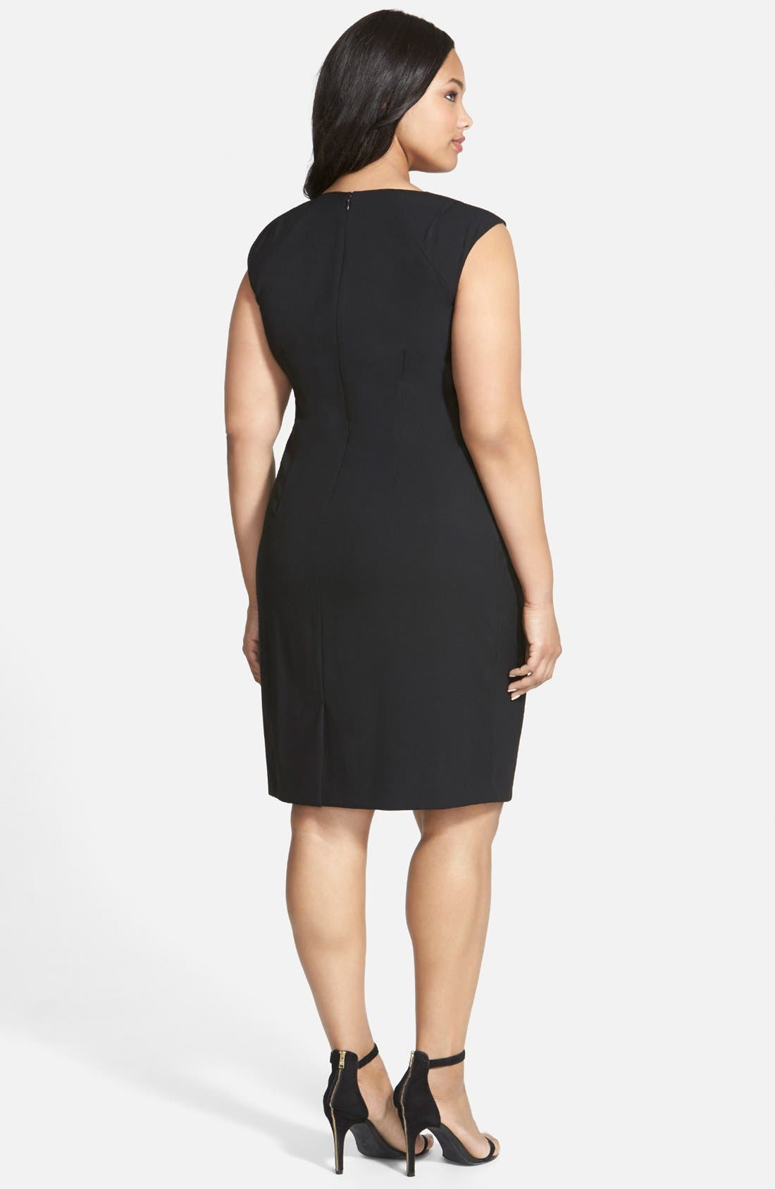 Alternate Image 2  - Calvin Klein Side Ruched Sheath Dress (Plus Size)