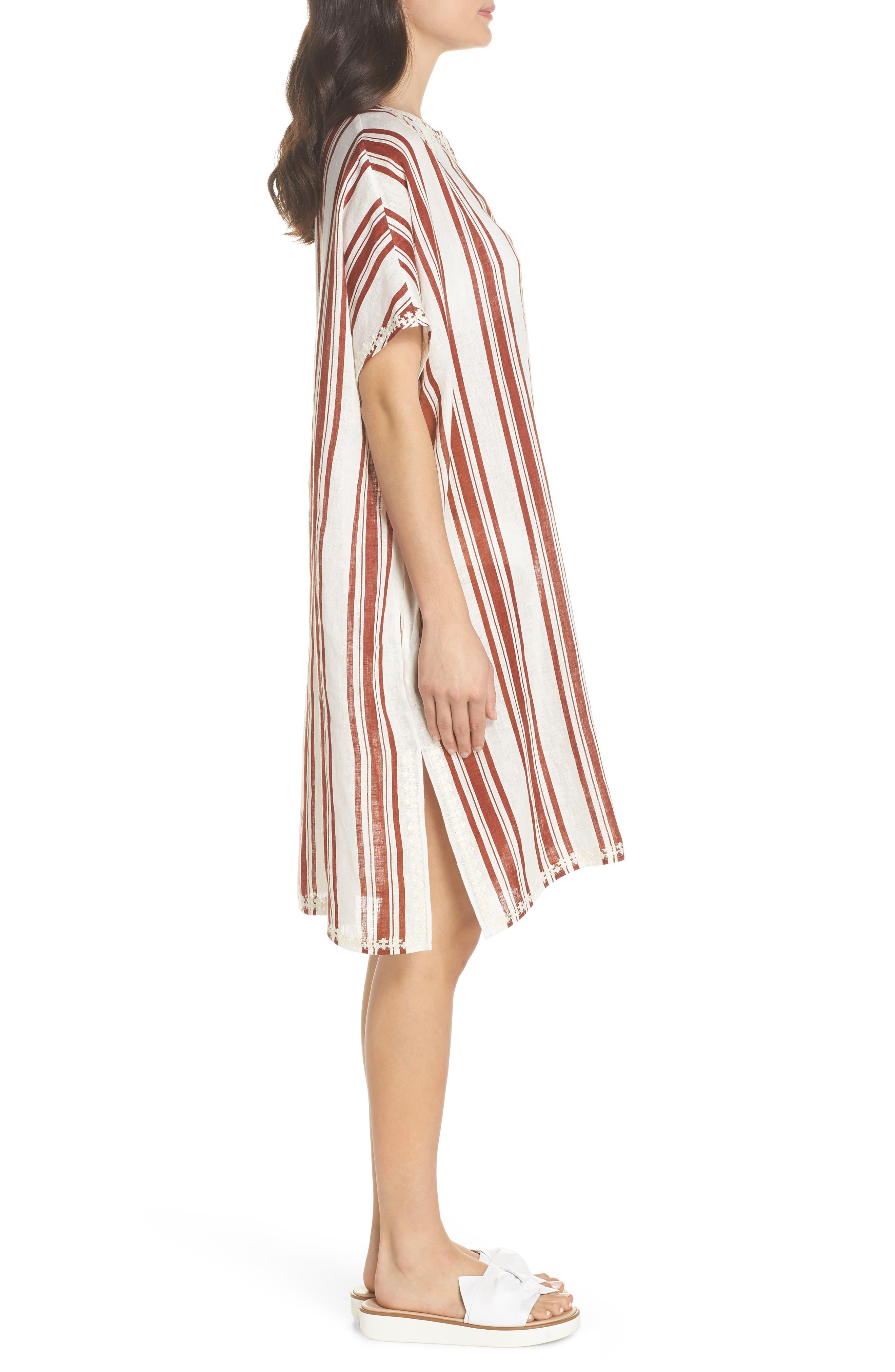Alcott Beach Linen Cover-Up Caftan,                             Alternate thumbnail 3, color,                             New Ivory / Desert Stripe