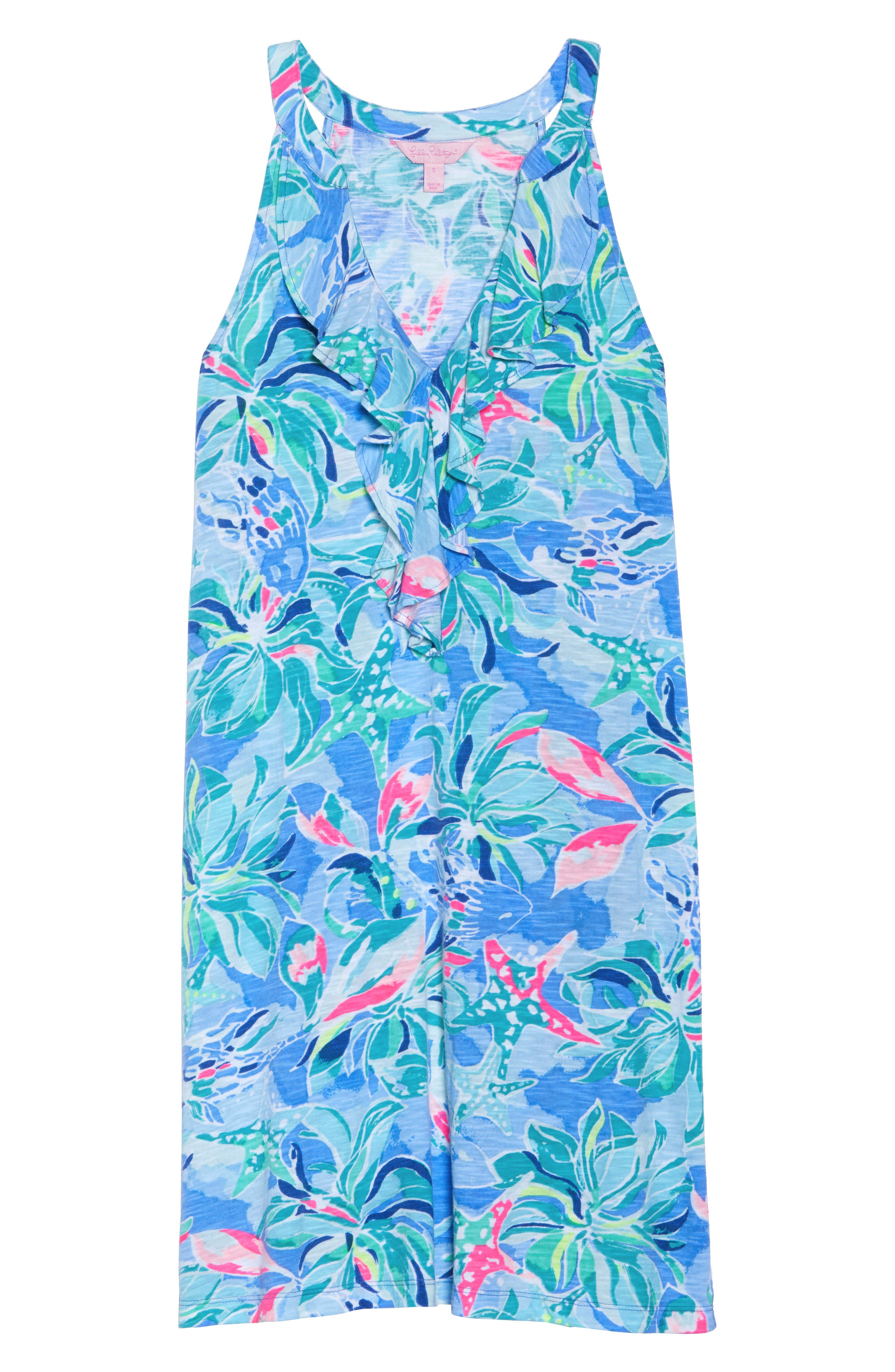 Shay Ruffle Halter Dress,                             Alternate thumbnail 6, color,                             Bennet Blue Celestial Seas