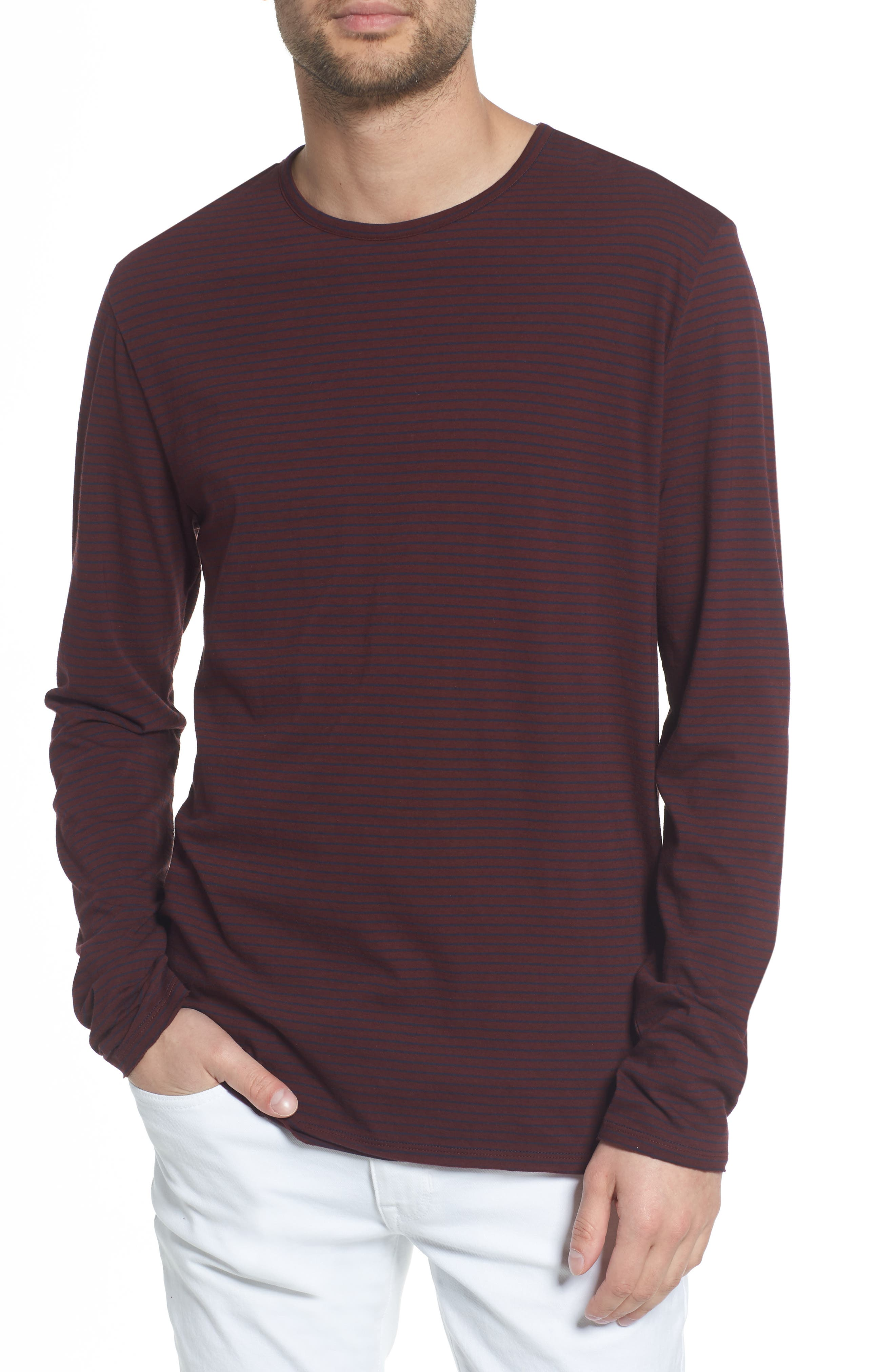 Stripe Long Sleeve Crewneck T-Shirt,                         Main,                         color, Black Cherry/ New Coastal