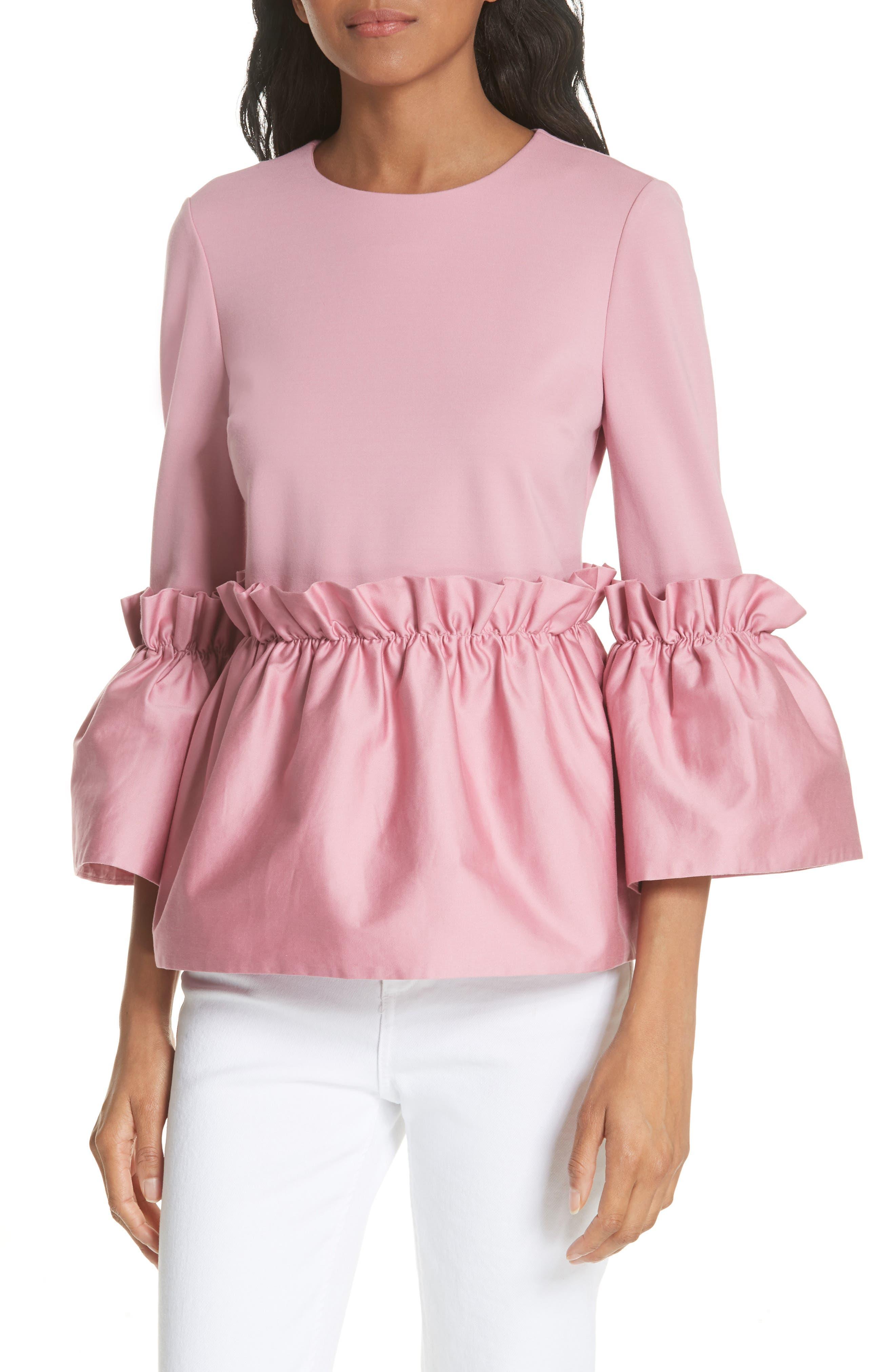Pleat Ruffle Top,                         Main,                         color, Dusky Pink