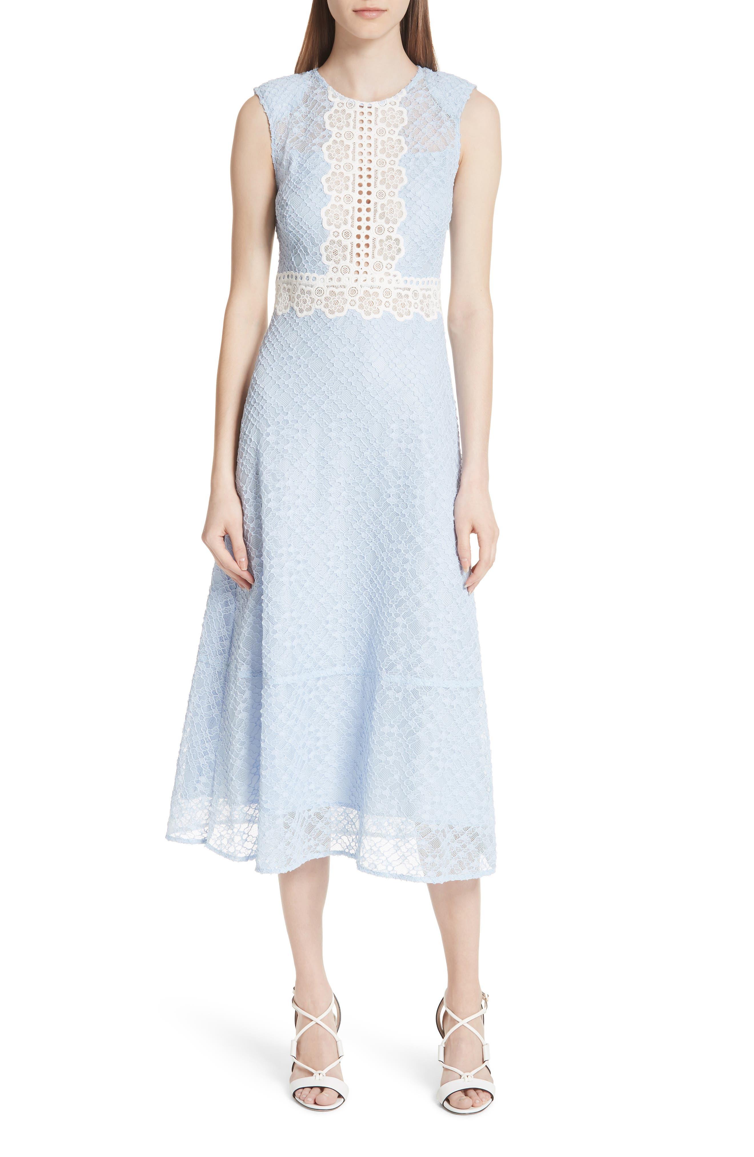 sandro Bleu Ciel Lace Midi Dress